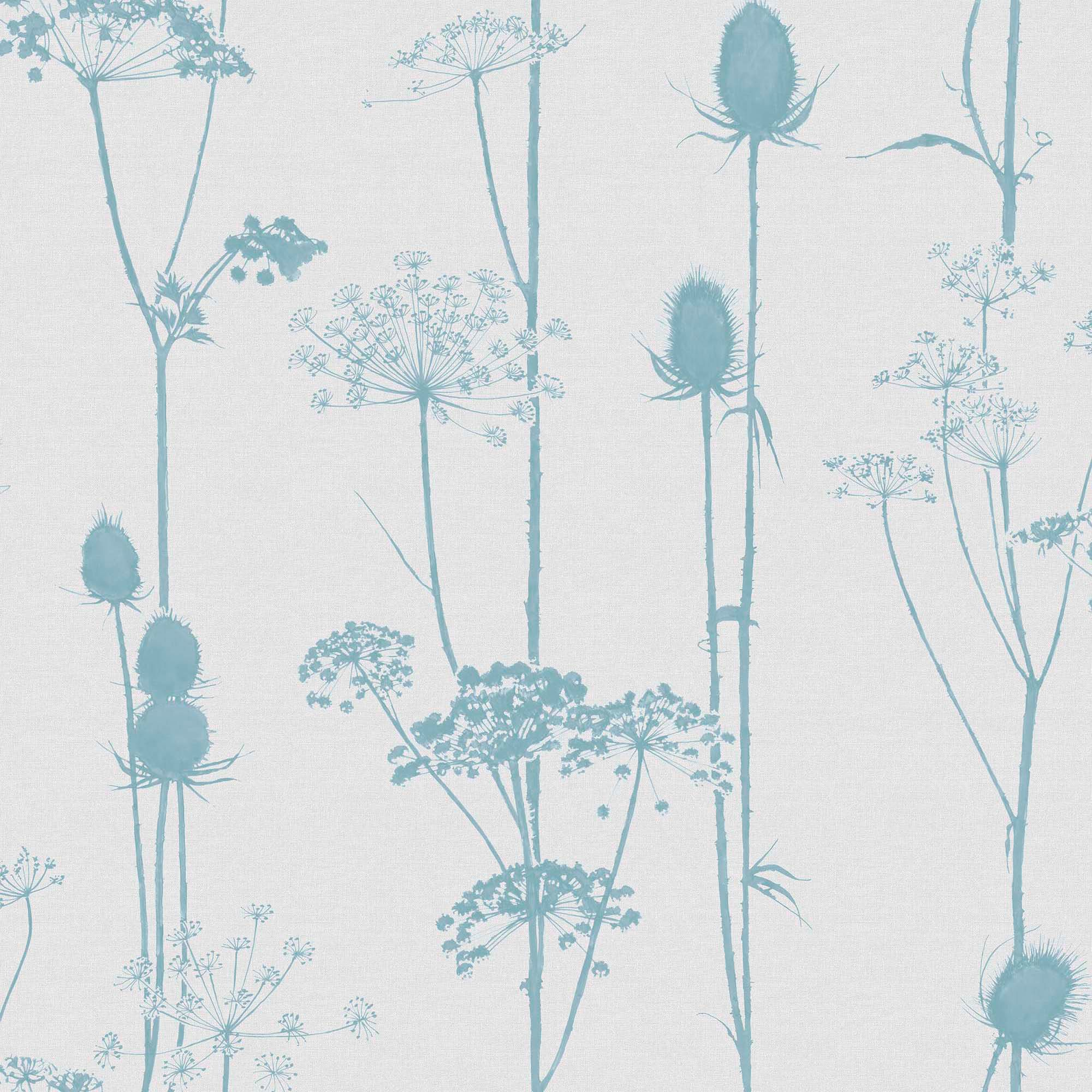 Colours Thistle Duck Egg Amp Grey Foliage Wallpaper