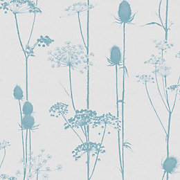 Colours Thistle Duck Egg & Grey Foliage Wallpaper
