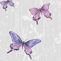 Colours Flutter Pink & Purple Butterfly Glitter Effect
