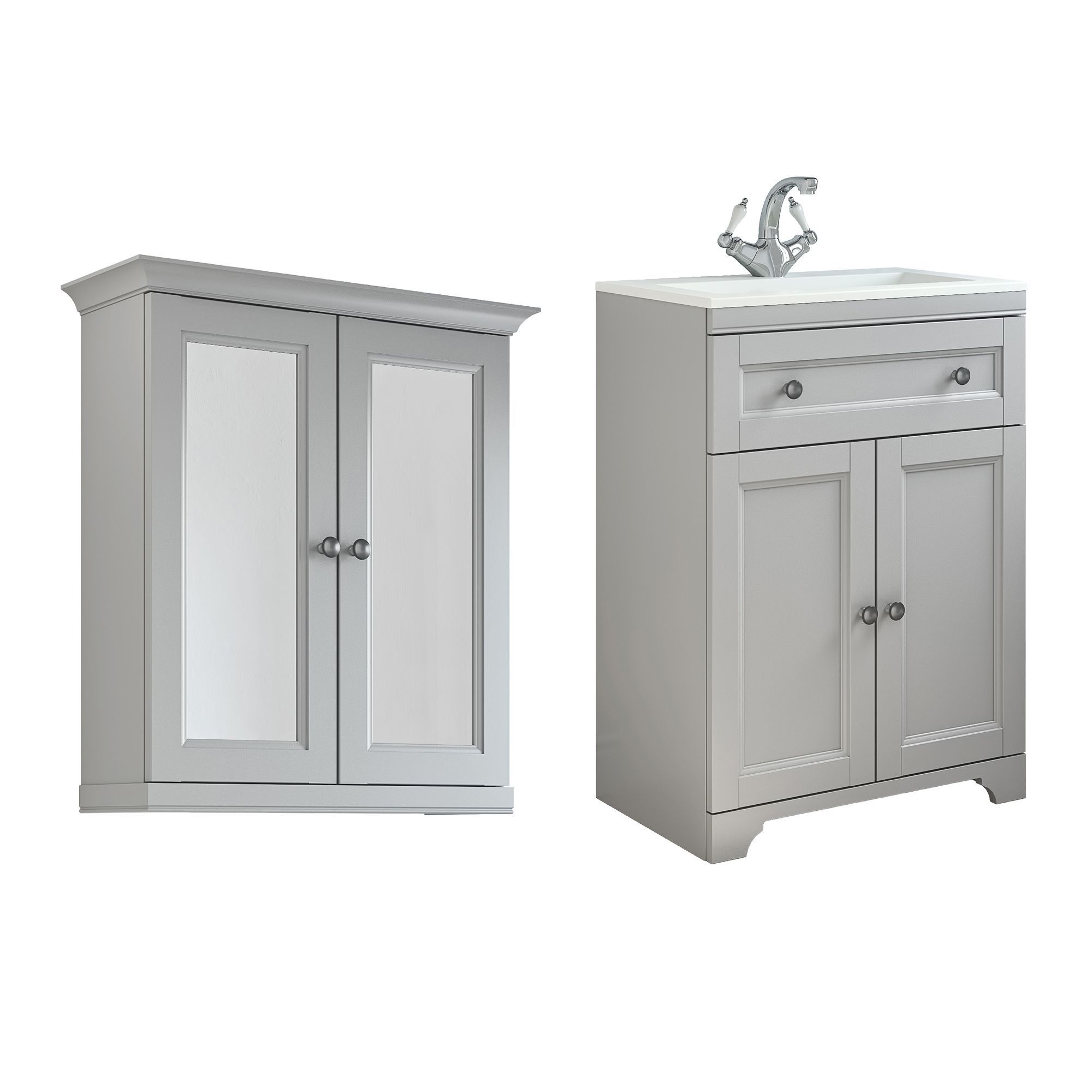 Vanity Unit Lights : Cooke & Lewis Chadleigh Matt Light Grey Vanity Unit with Basin & Mirror Cabinet Departments ...