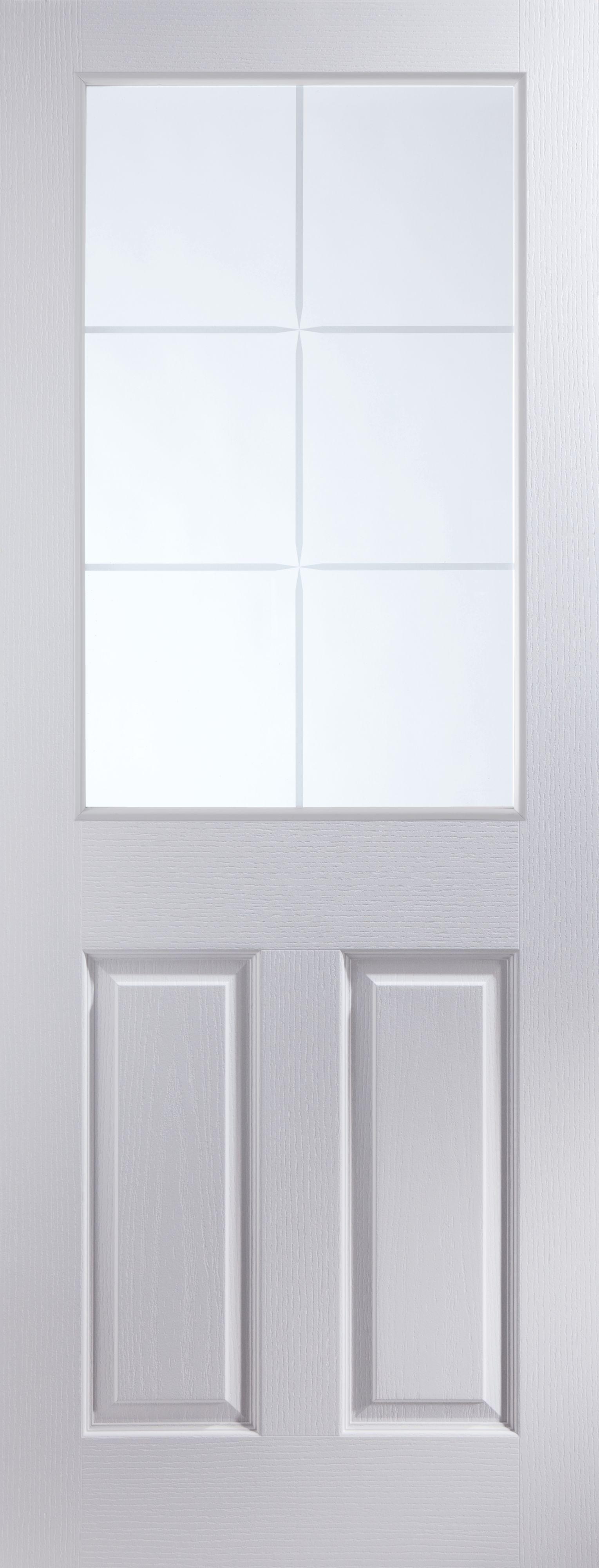6 Panel 6 Lite Pre-painted White Glazed Internal Standard Door, (h)1981mm (w)762mm
