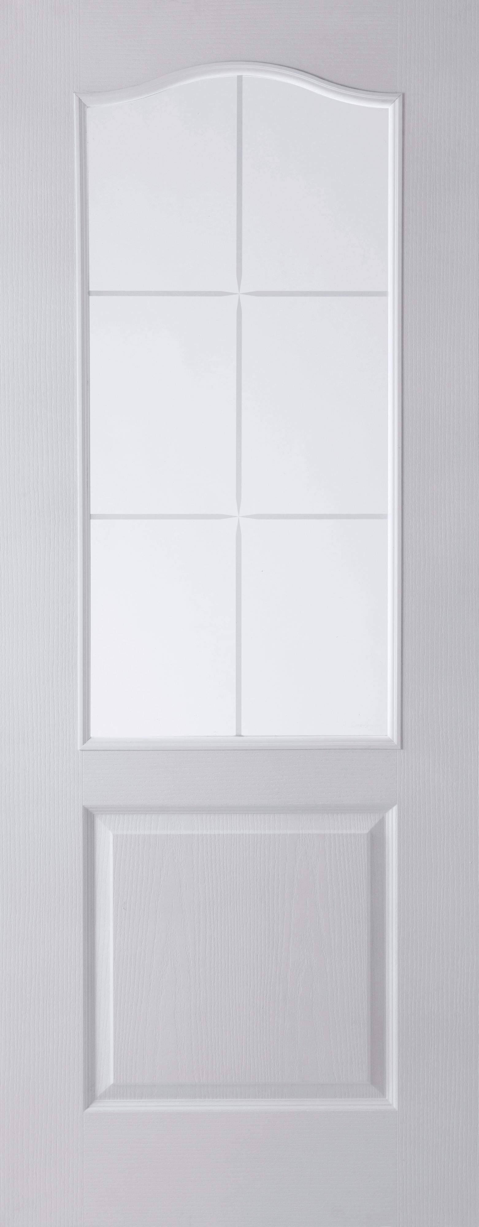 2 Panel Arched 6 Lite Pre-painted White Glazed Internal Standard Door, (h)1981mm (w)762mm