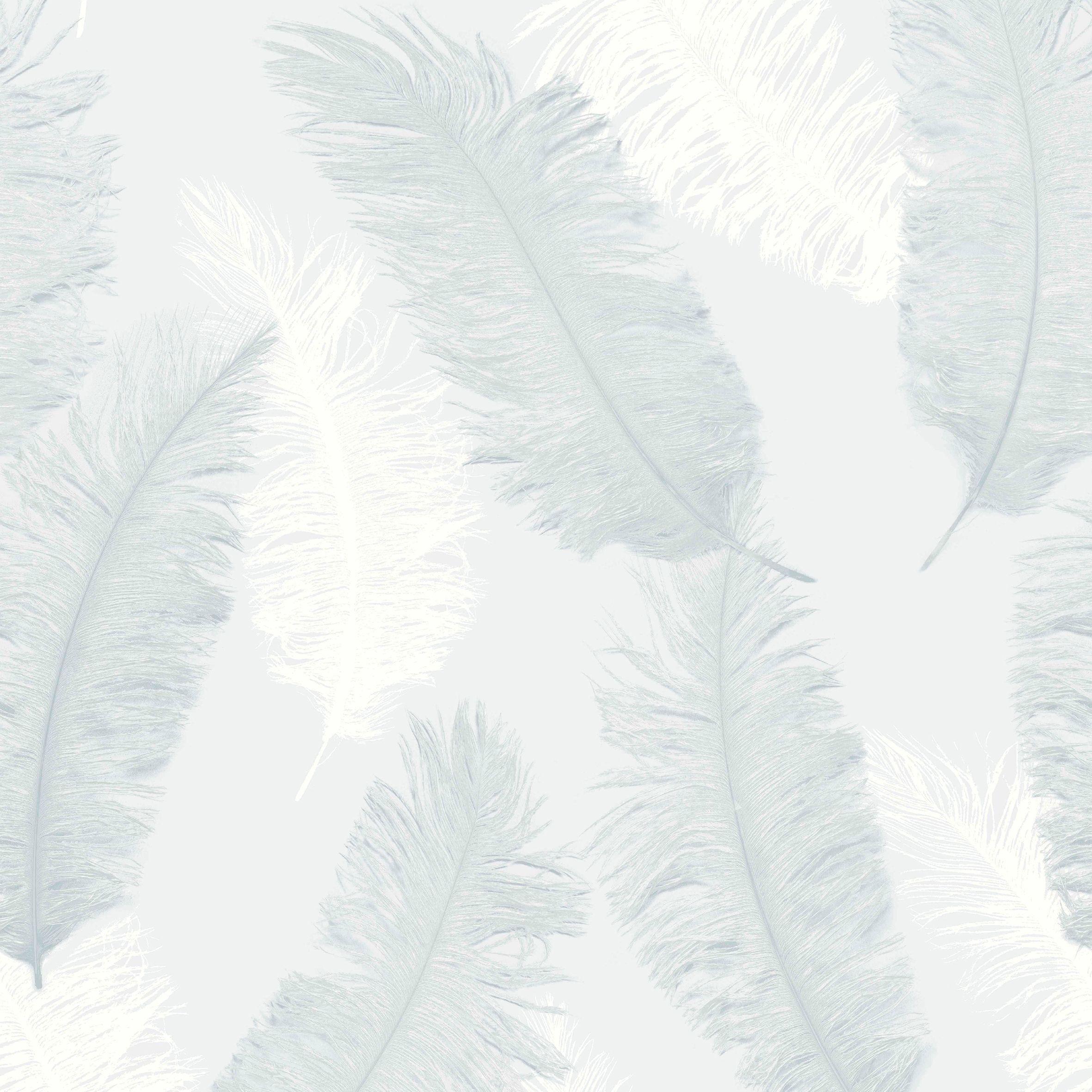 Colours Umali Duck Egg Feather Embosed Glitter Wallpaper