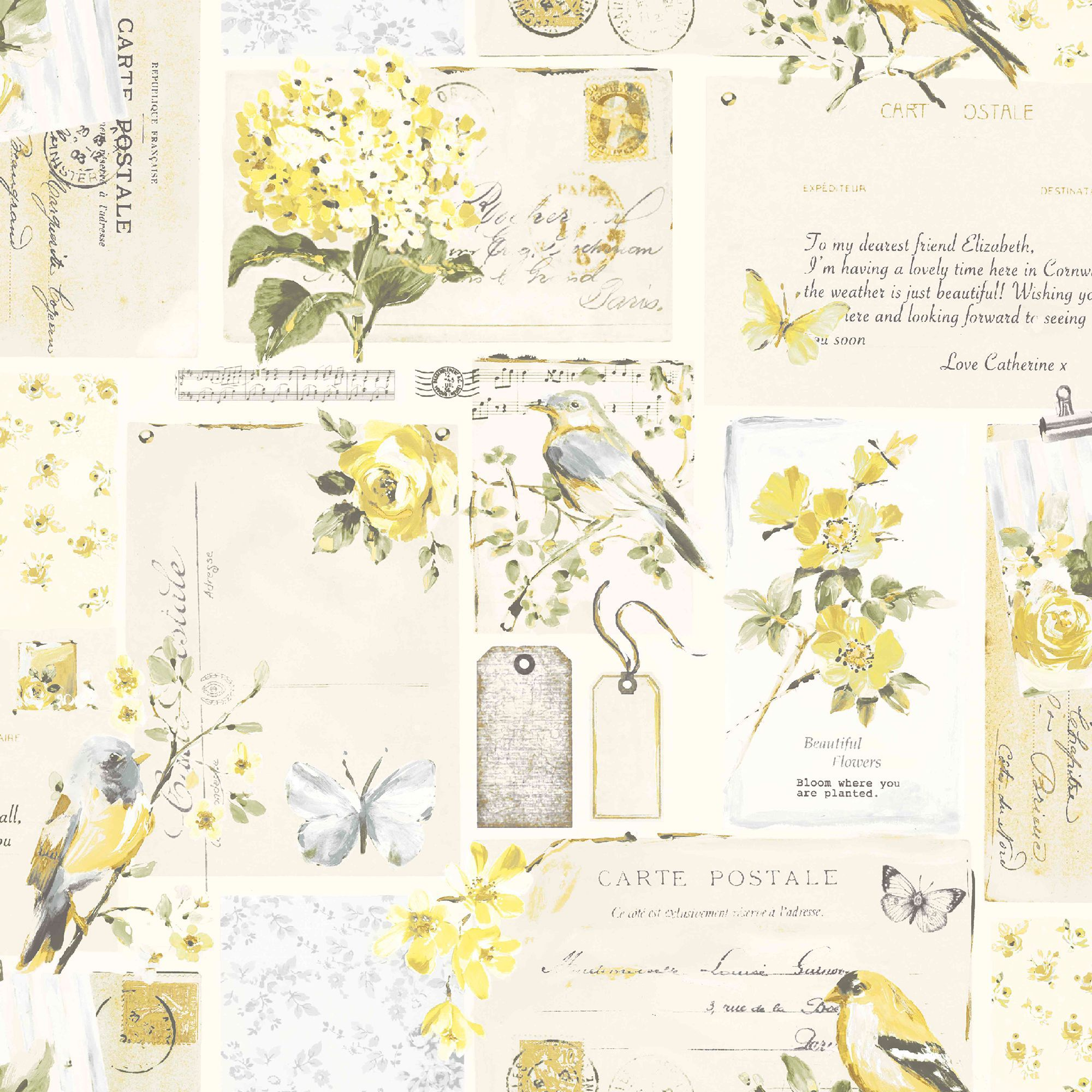 Colours Inady Grey & Yellow Floral Patchwork Wallpaper