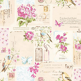 Colours Inady Pink Floral Patchwork Wallpaper