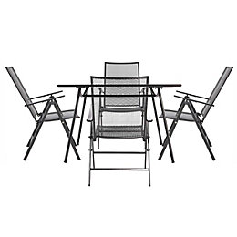Adelaide Metal 4 Seater Recliner Dining Set