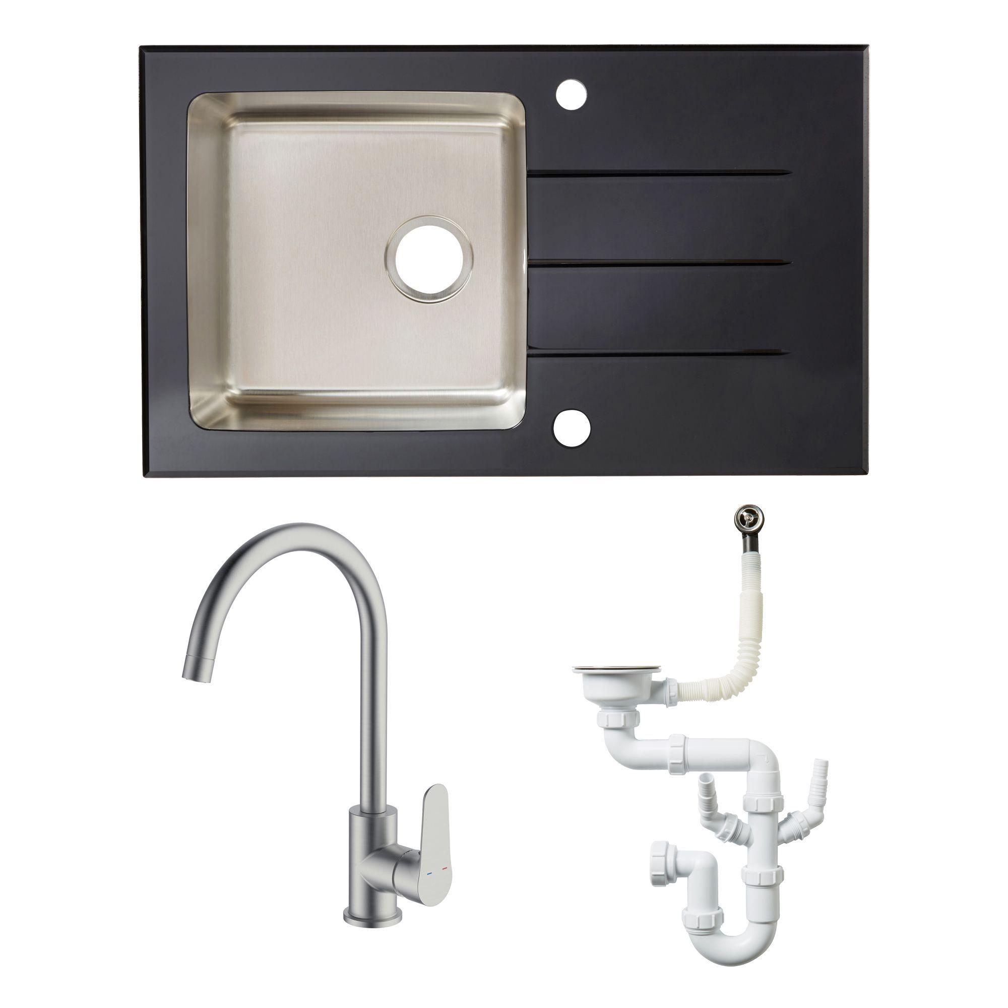 Cooke & Lewis 1 Bowl Black Stainless Steel & Toughened Glass Sink, Tap & Waste Kit