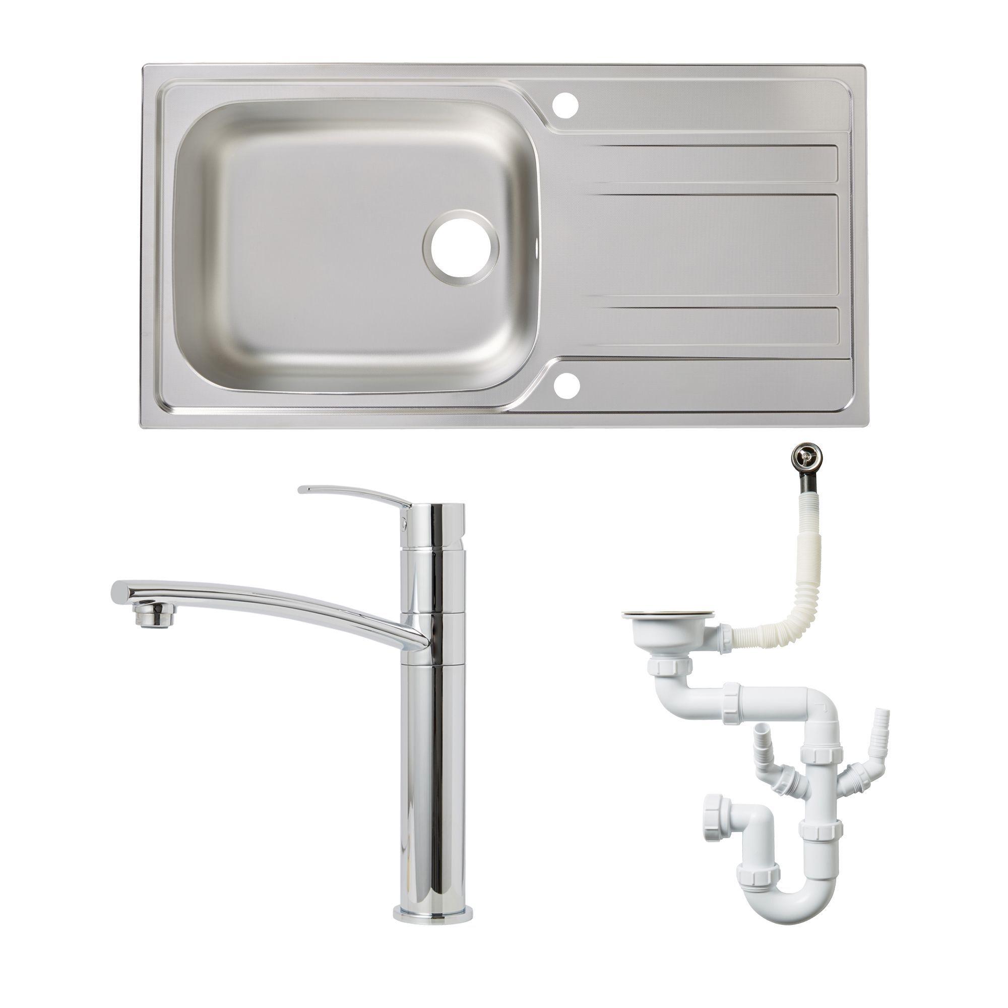 Cooke & Lewis 1 Bowl Stainless Steel Sink, Tap & Waste Kit