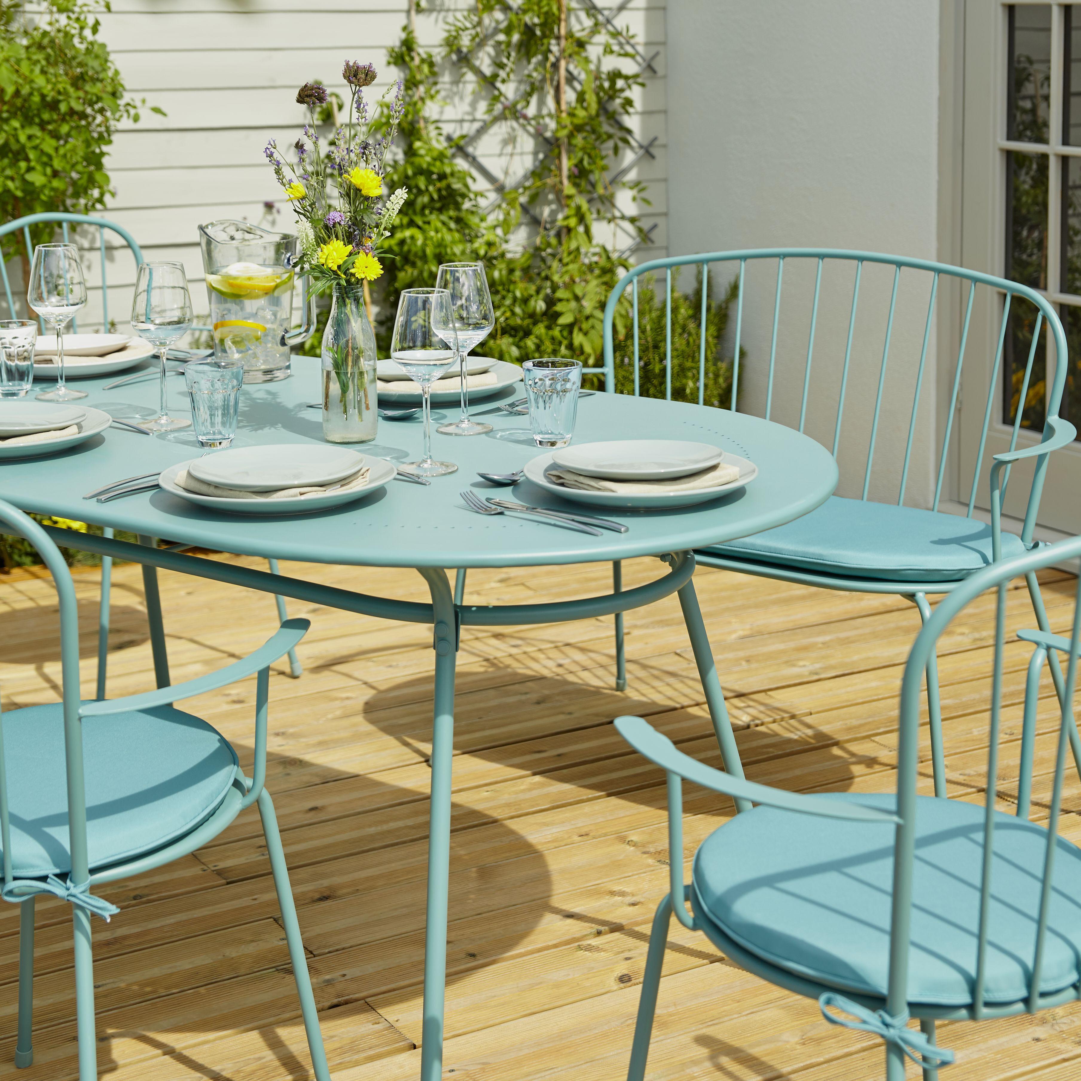 Gloria metal six seater armchair dining set