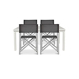 Batang Anthracite Metal 4 Seater Dining Set