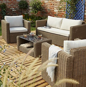 Soron rattan four seater coffee set