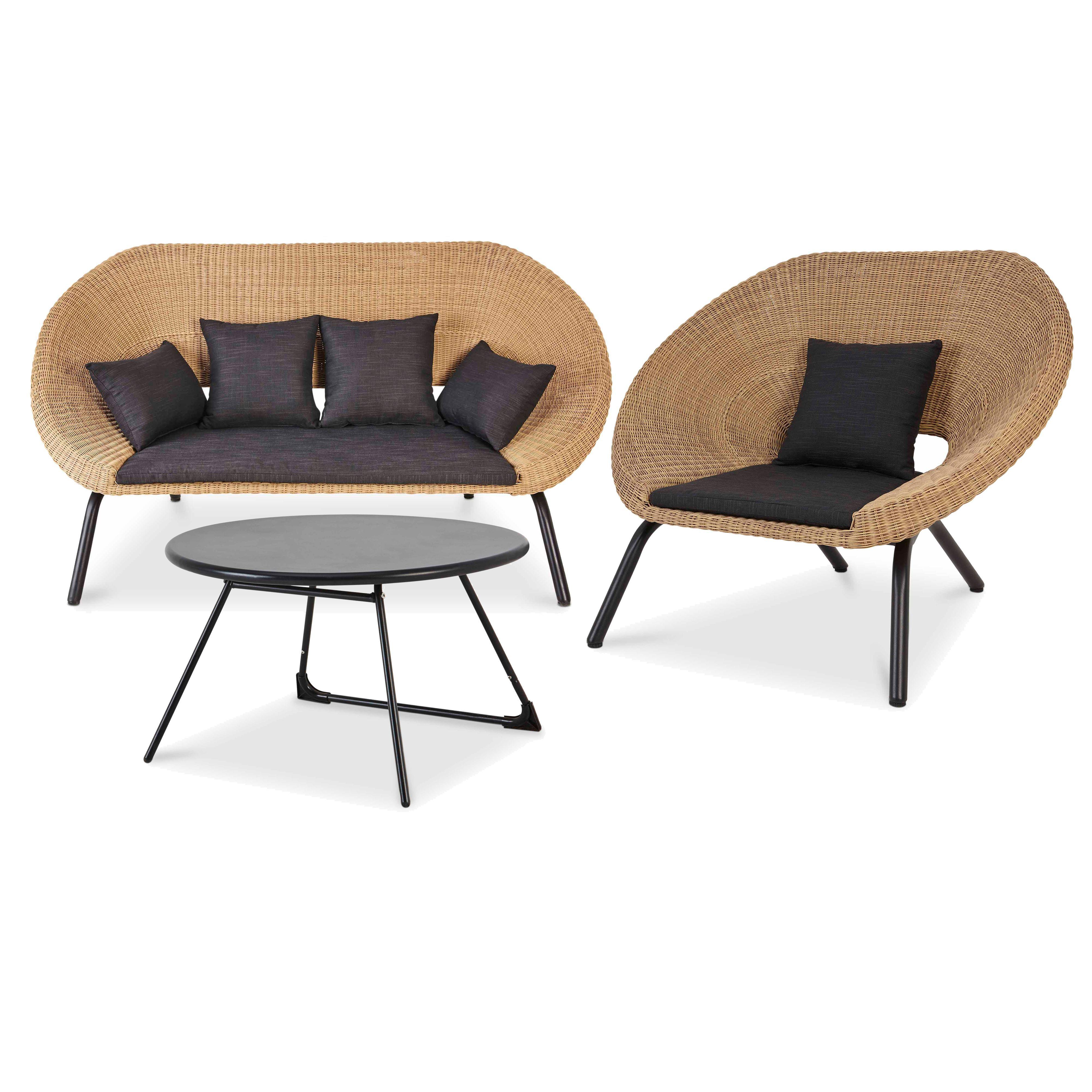 Loa Rattan 3 Seater Coffee Set