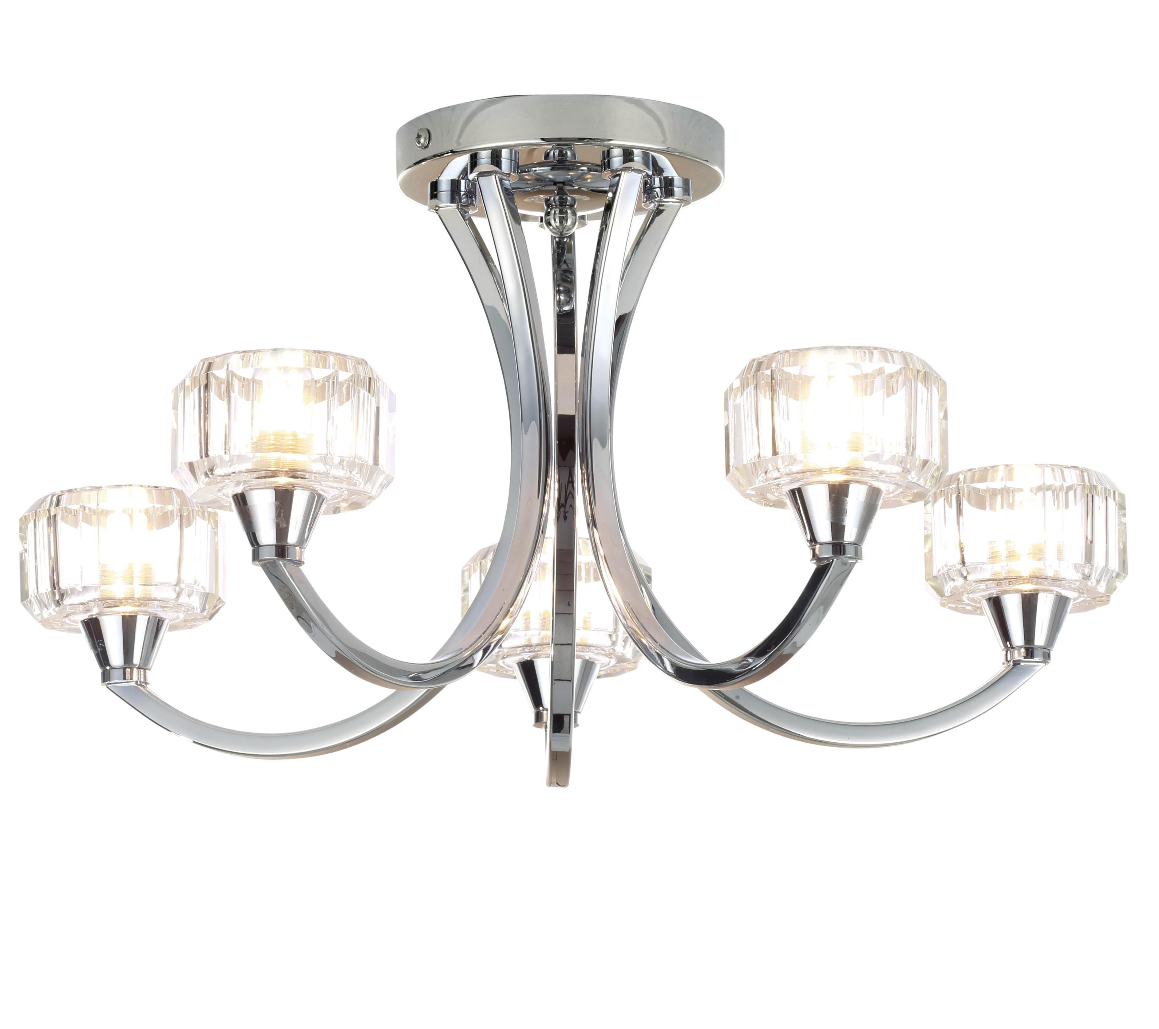 orara chrome effect 5 lamp bathroom ceiling light