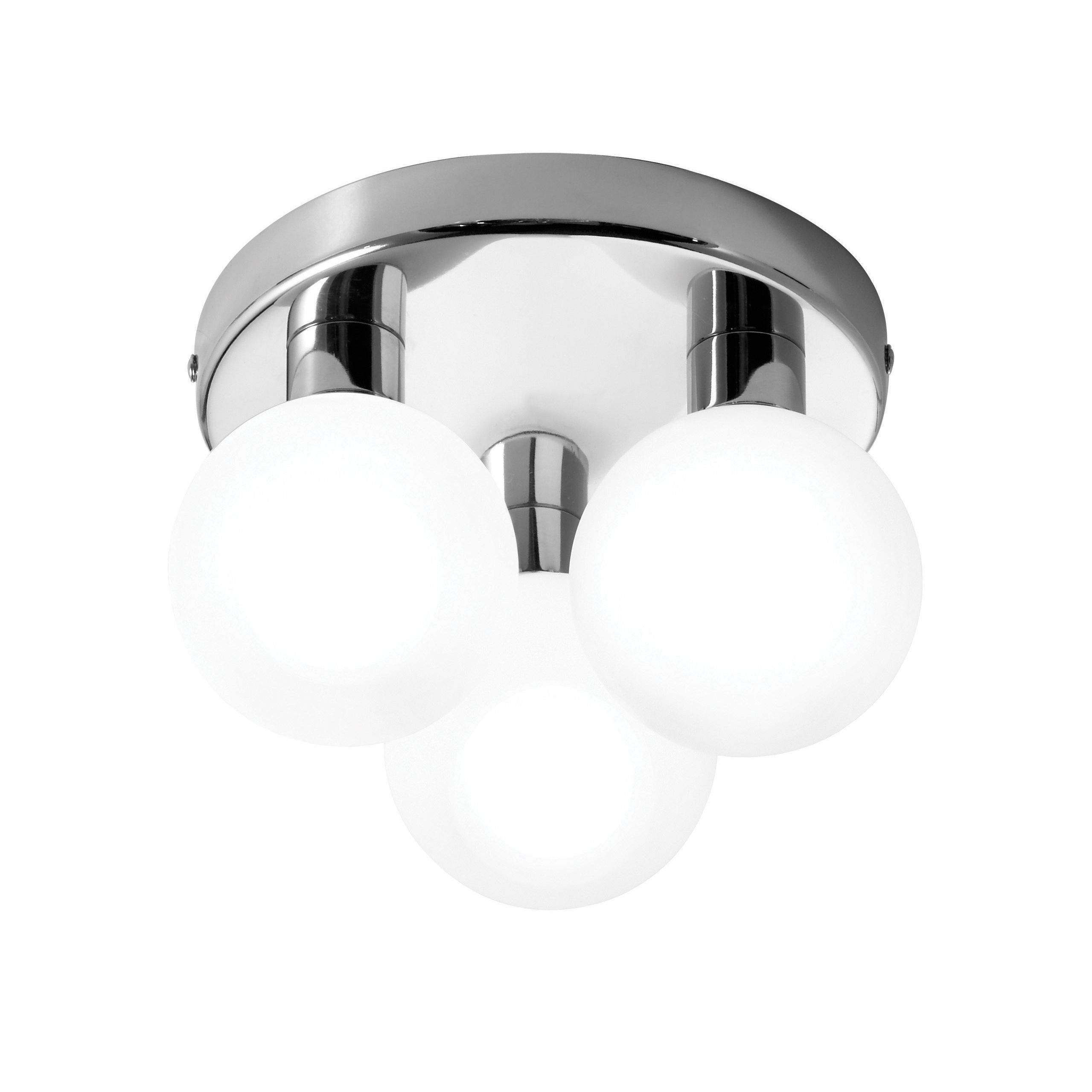 lagoon chrome effect 3 lamp bathroom ceiling light