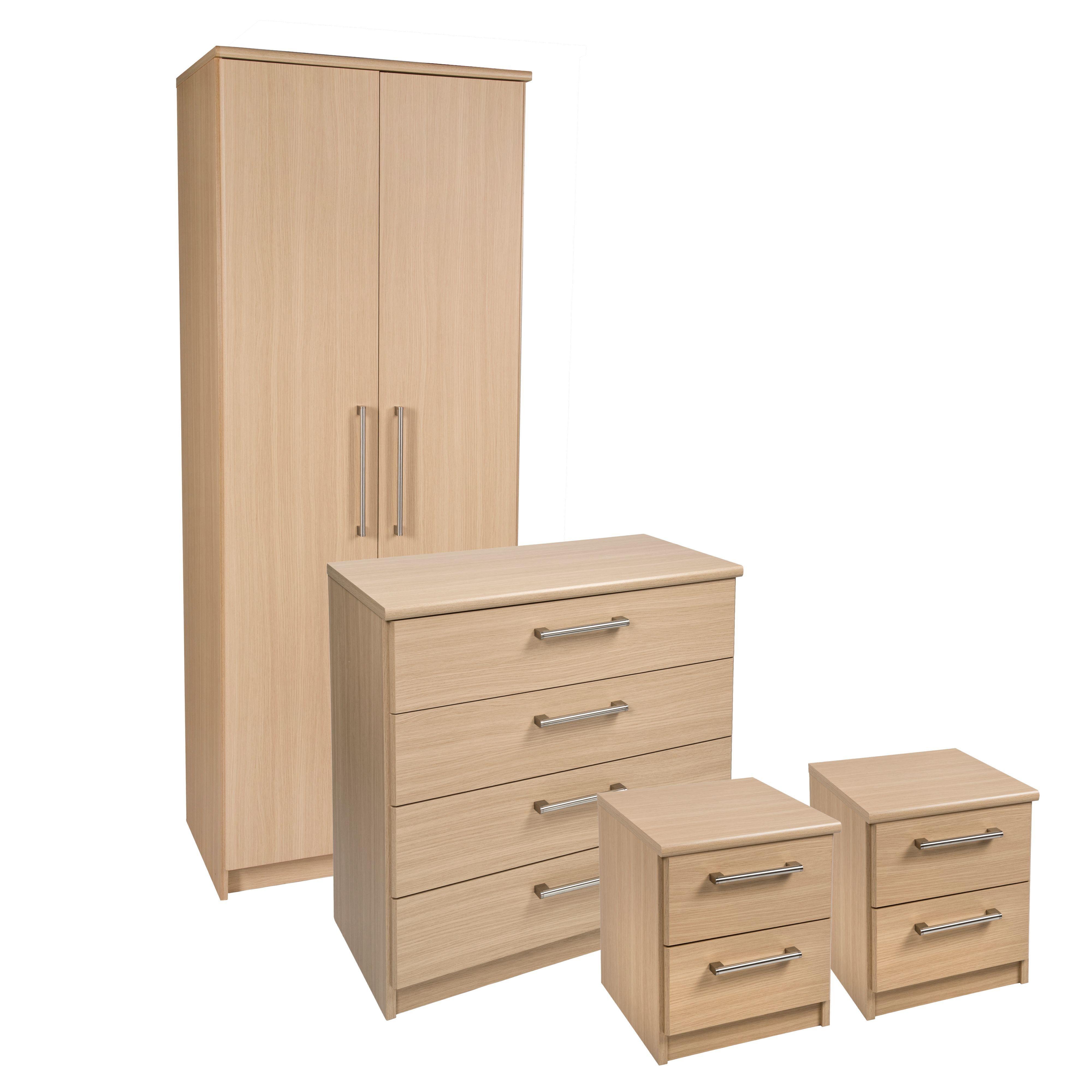 Elsey Oak Effect 4 Piece Bedroom Furniture Set. Kendal Oak Effect 4 Piece Bedroom Furniture Set   Departments
