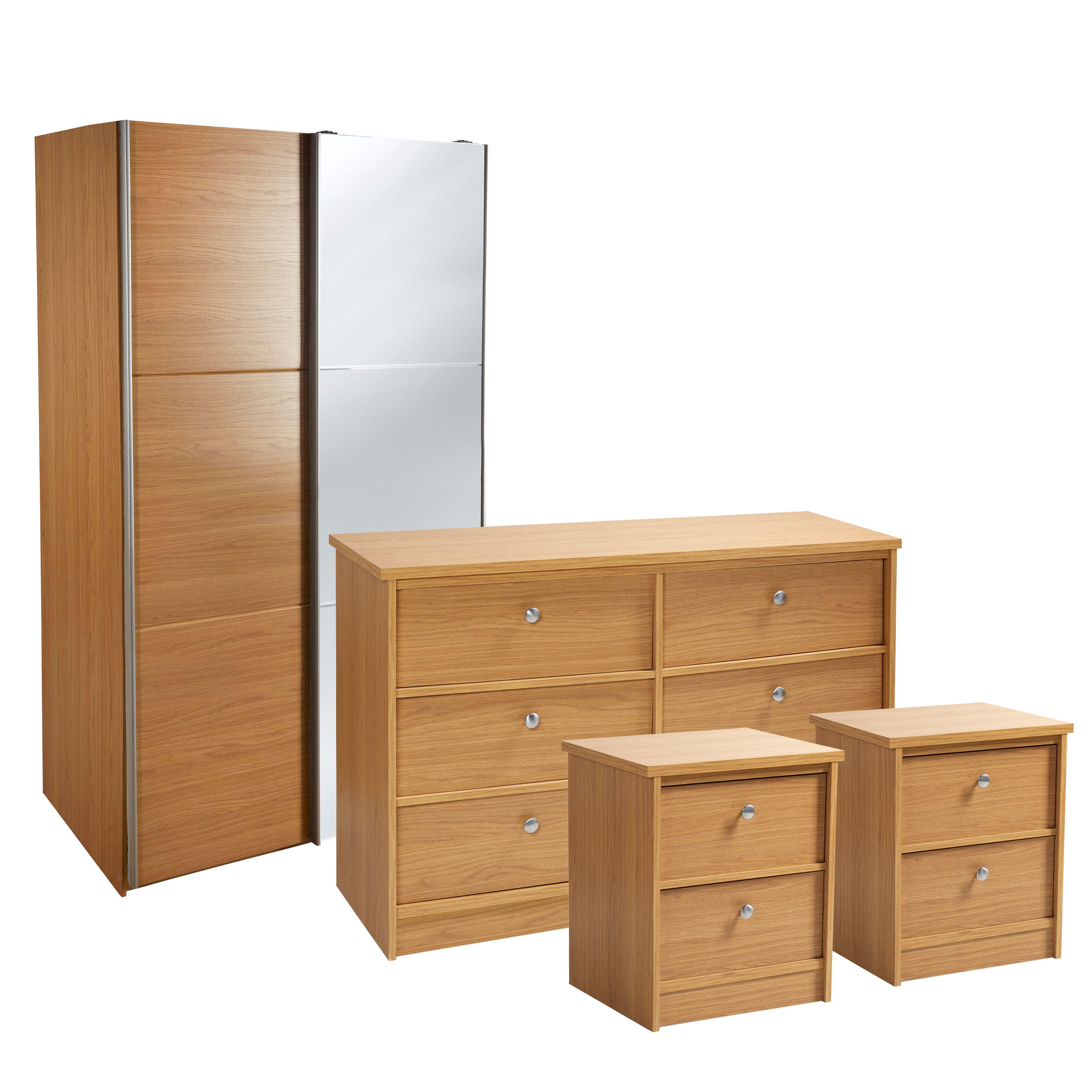 Kendal Oak Effect 4 Piece Bedroom Furniture Set. 3 Piece Bedroom Sets   Bedroom Furniture   DIY at B Q