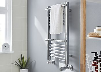 Plumbed towel warmer