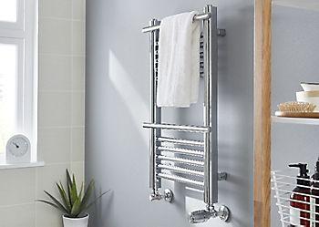 Plumbed towel warmer