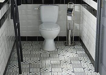 GoodHome Poprock Black & white Mosaic effect Self adhesive Vinyl tile