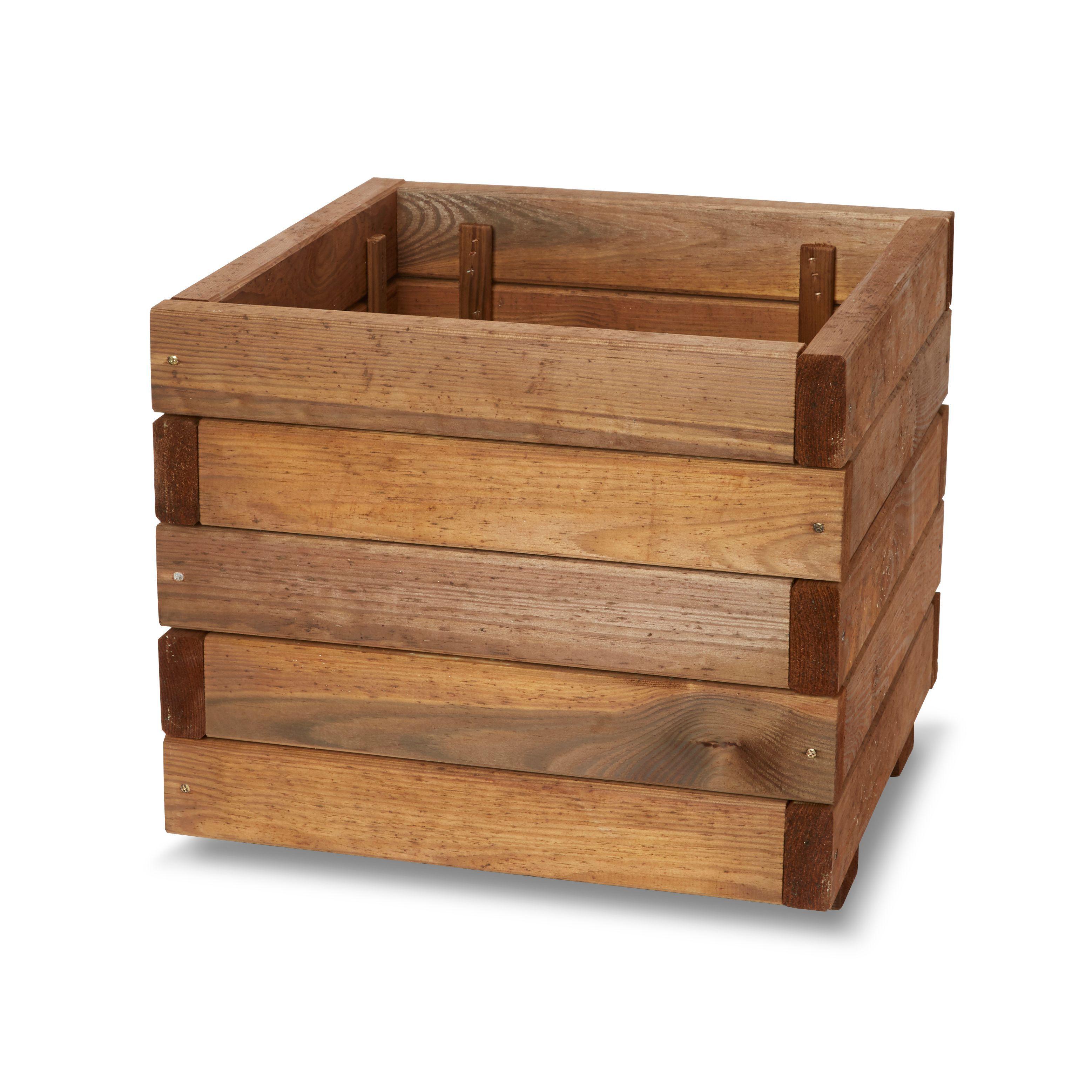 Bopha Square Wooden Planter (h)350mm (dia)400mm