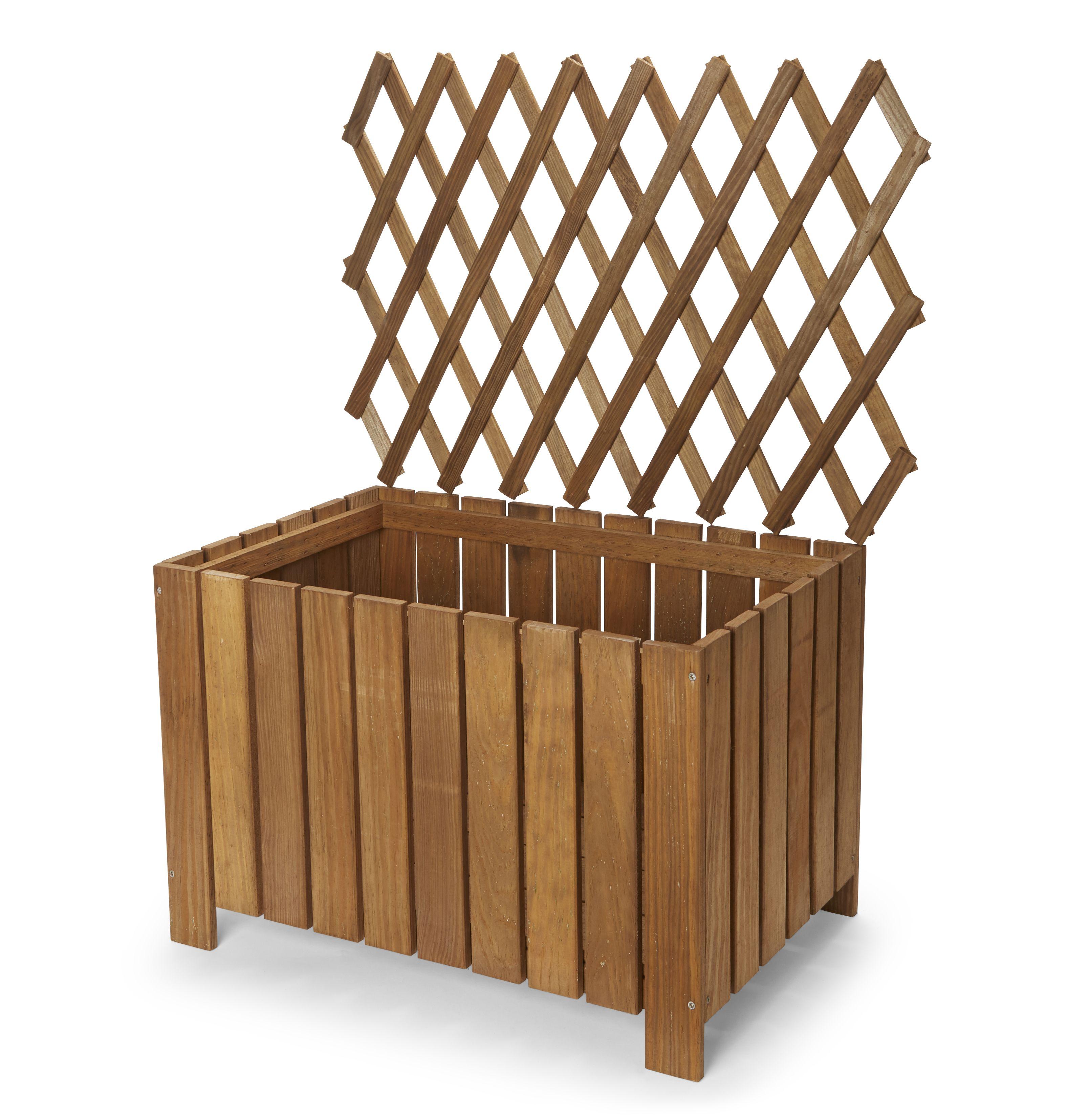 Bopha Rectangular Wooden Trough With Trellis (h)1000mm (dia)400mm