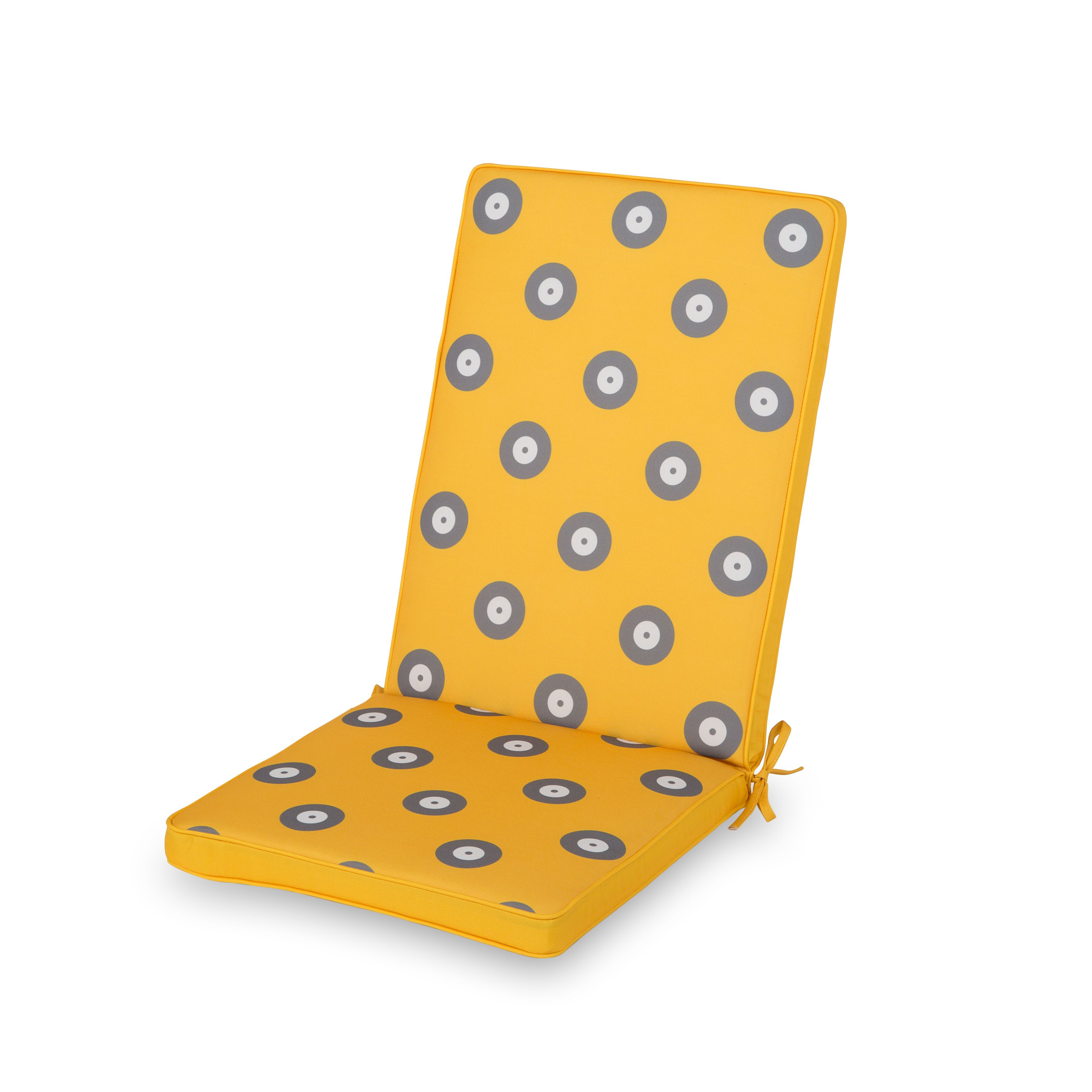 Kinaros Grey & Yellow Spot High Back Seat Cushion