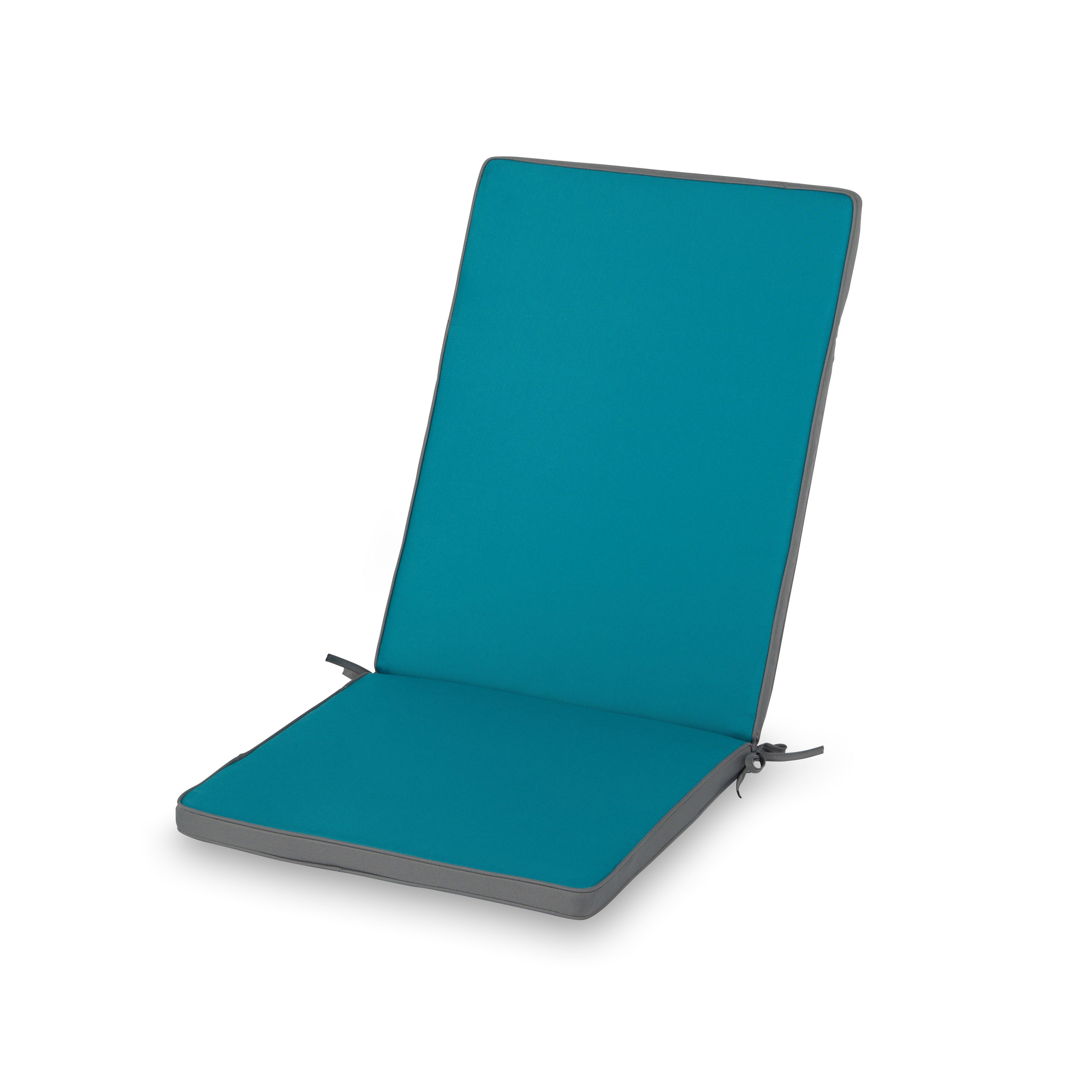 Adelaide Biscay Blue & Steel Grey Plain High Back Seat Cushion