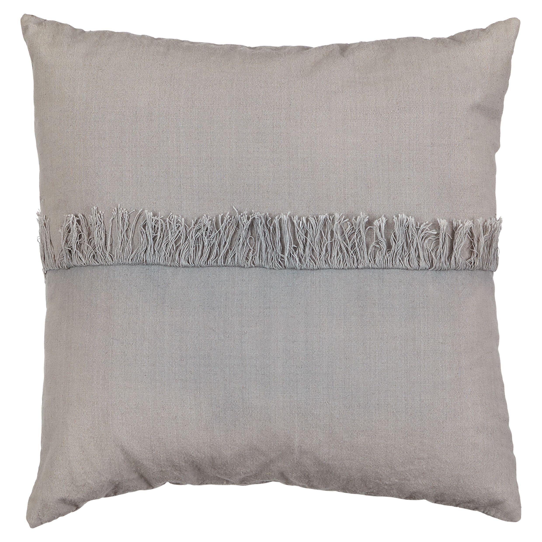 Rural Grey Fringed Cushion
