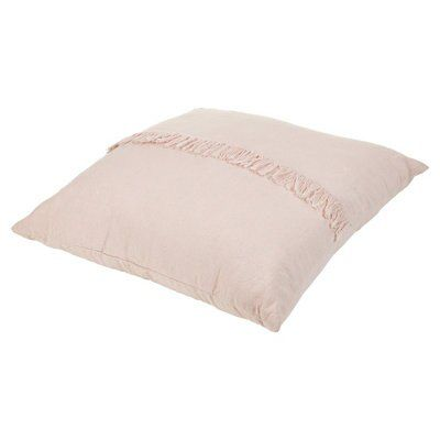 Rural Blush Pink Fringed Cushion