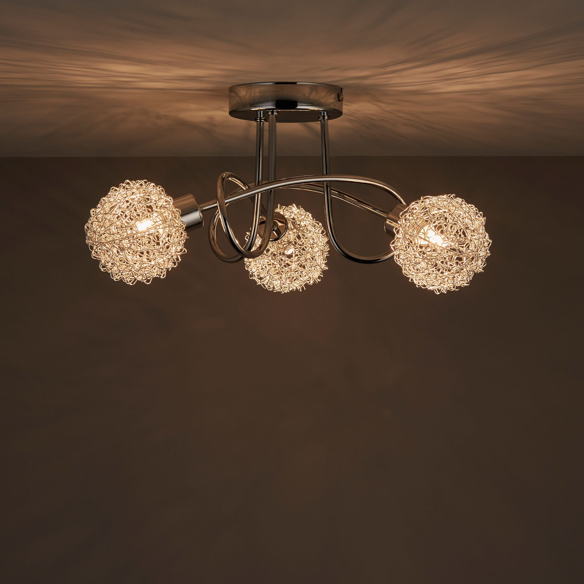 Caelus Chrome Effect 3 Lamp Ceiling Light