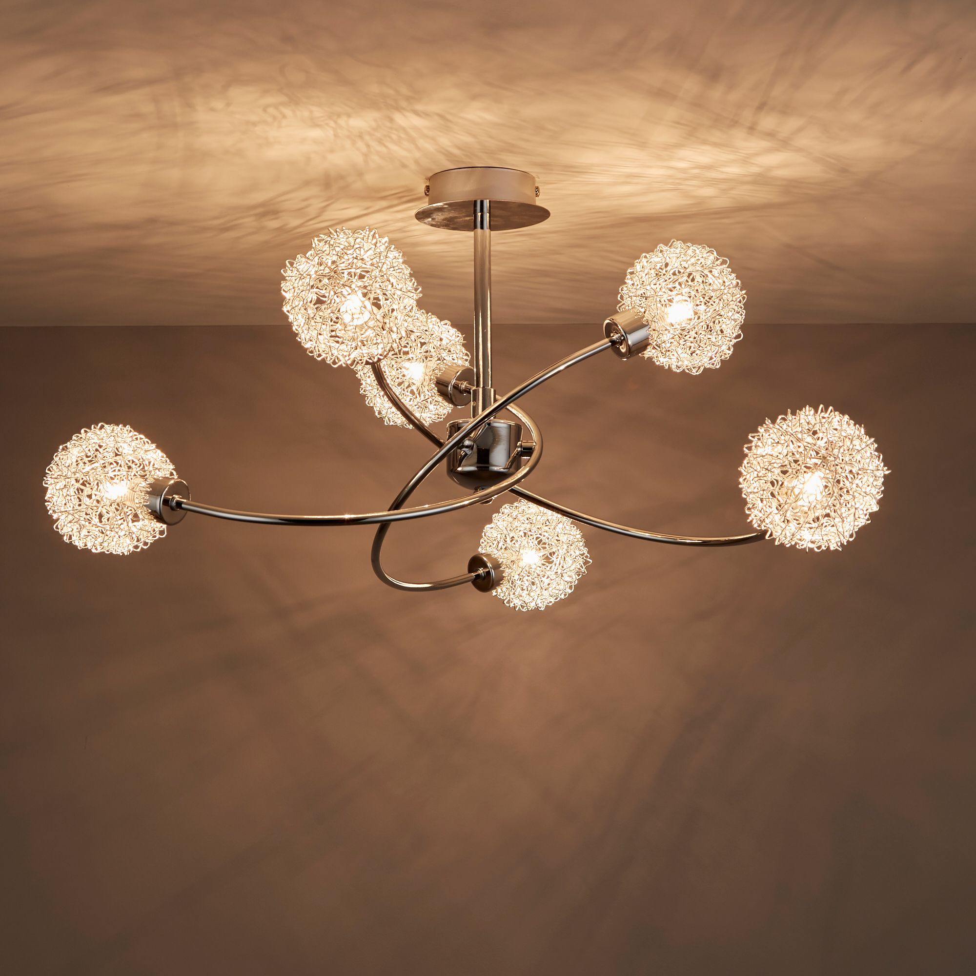 Caelus Chrome Effect 6 Lamp Ceiling Light