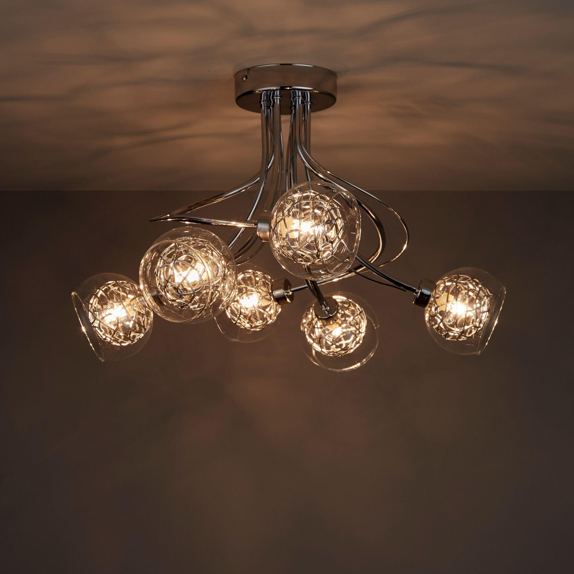 Carmenta Chrome Effect 6 Lamp Ceiling Light