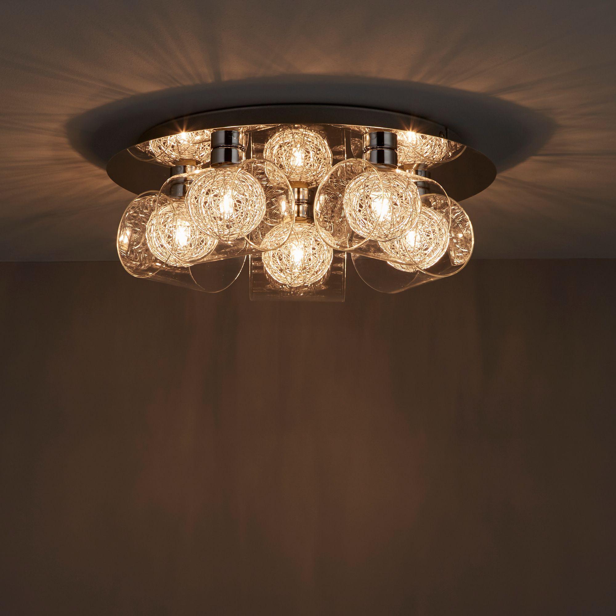 camenae chrome effect  lamp ceiling light departments diy  bq