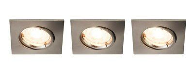 Colours Brushed Chrome LED Adjustable Square Recessed ...