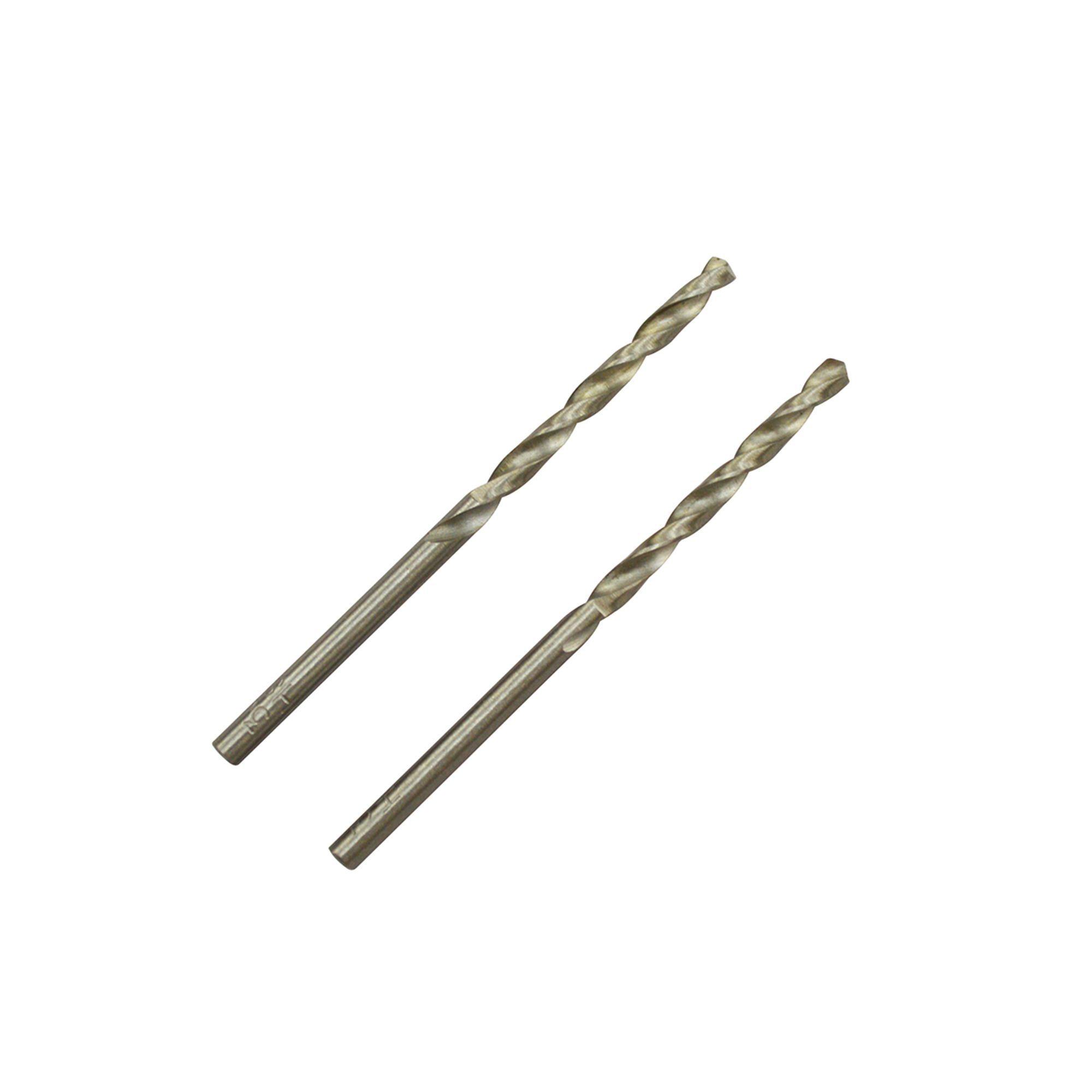 Universal High Speed Steel Metal Drill Bit (dia)3mm (l)61mm, Pack Of 2