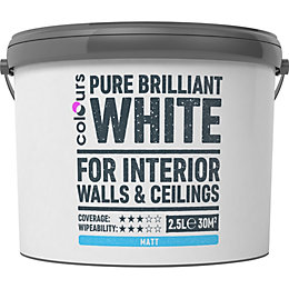 Colours White Matt Emulsion Paint 2.5L