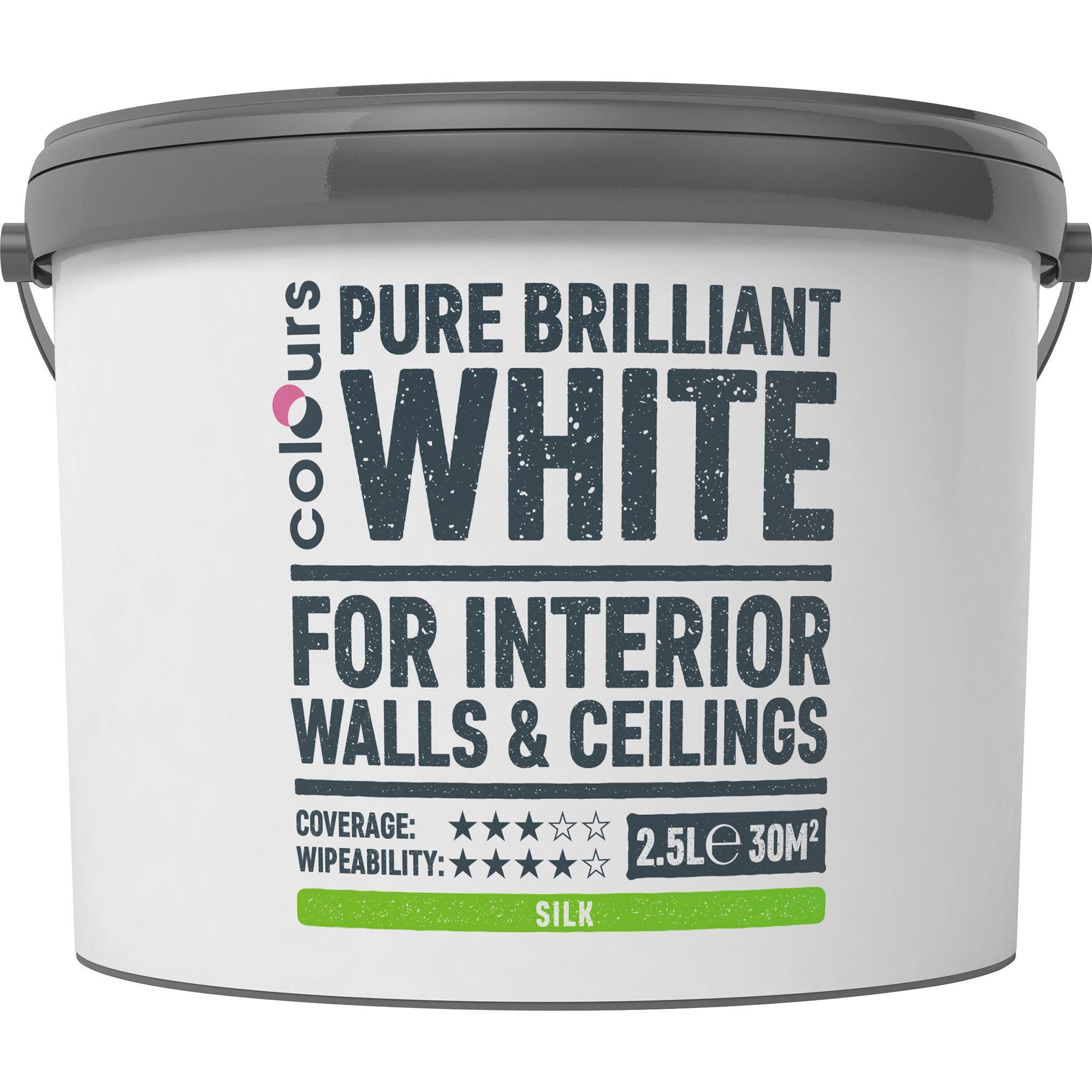 Colours White Silk Emulsion Paint 2.5l