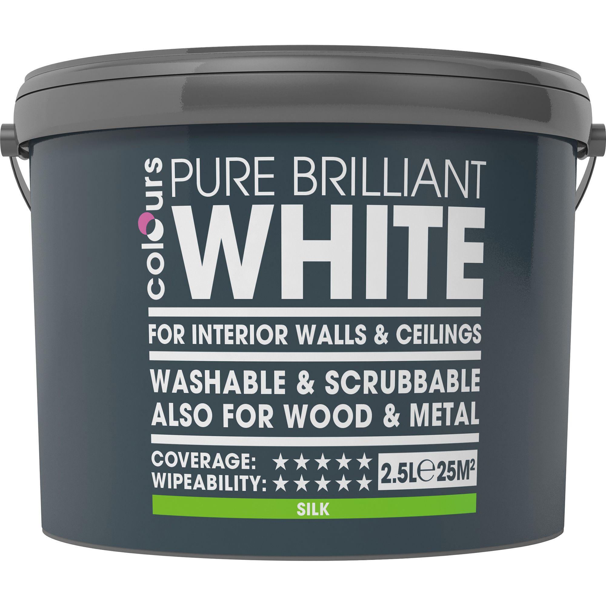 Colours Washable & Scrubbable White Silk Emulsion Paint 2.5l