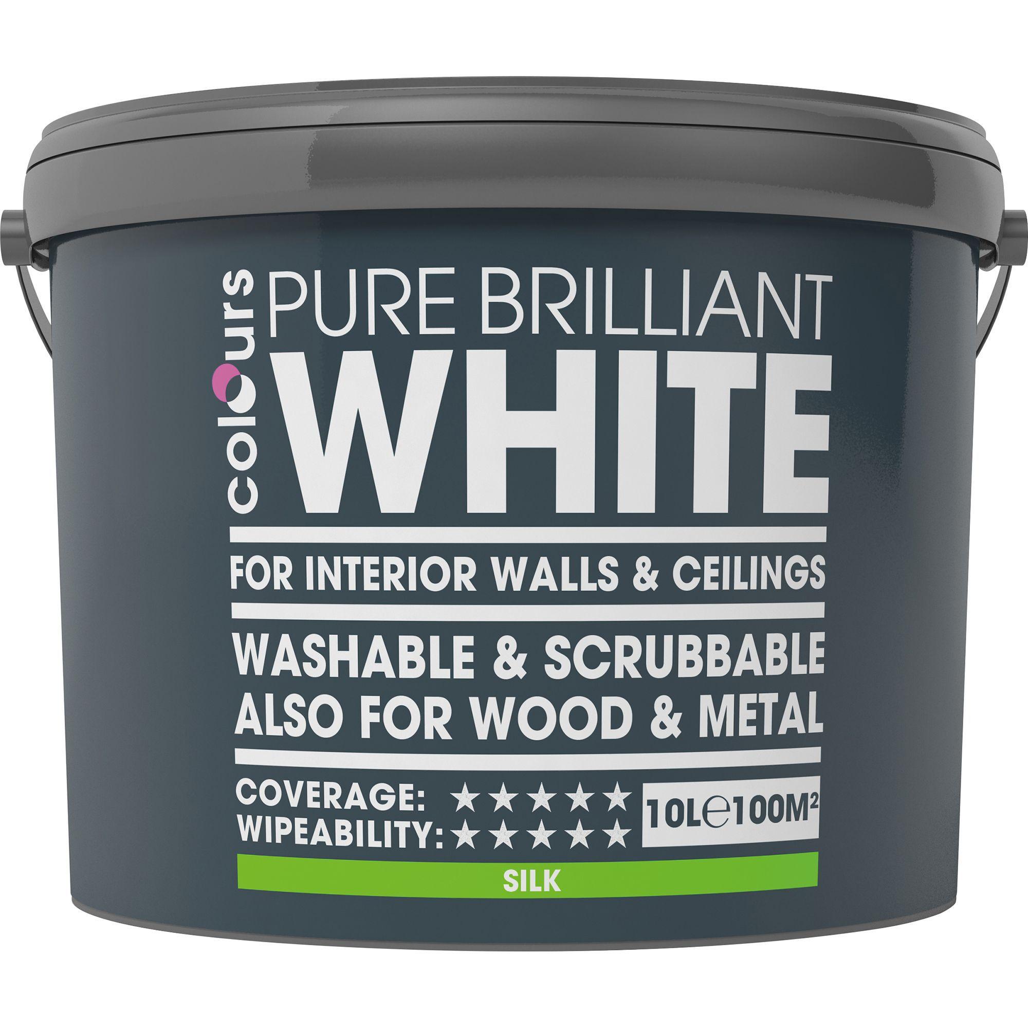 Colours Washable & Scrubbable White Silk Silk Emulsion Paint 10l
