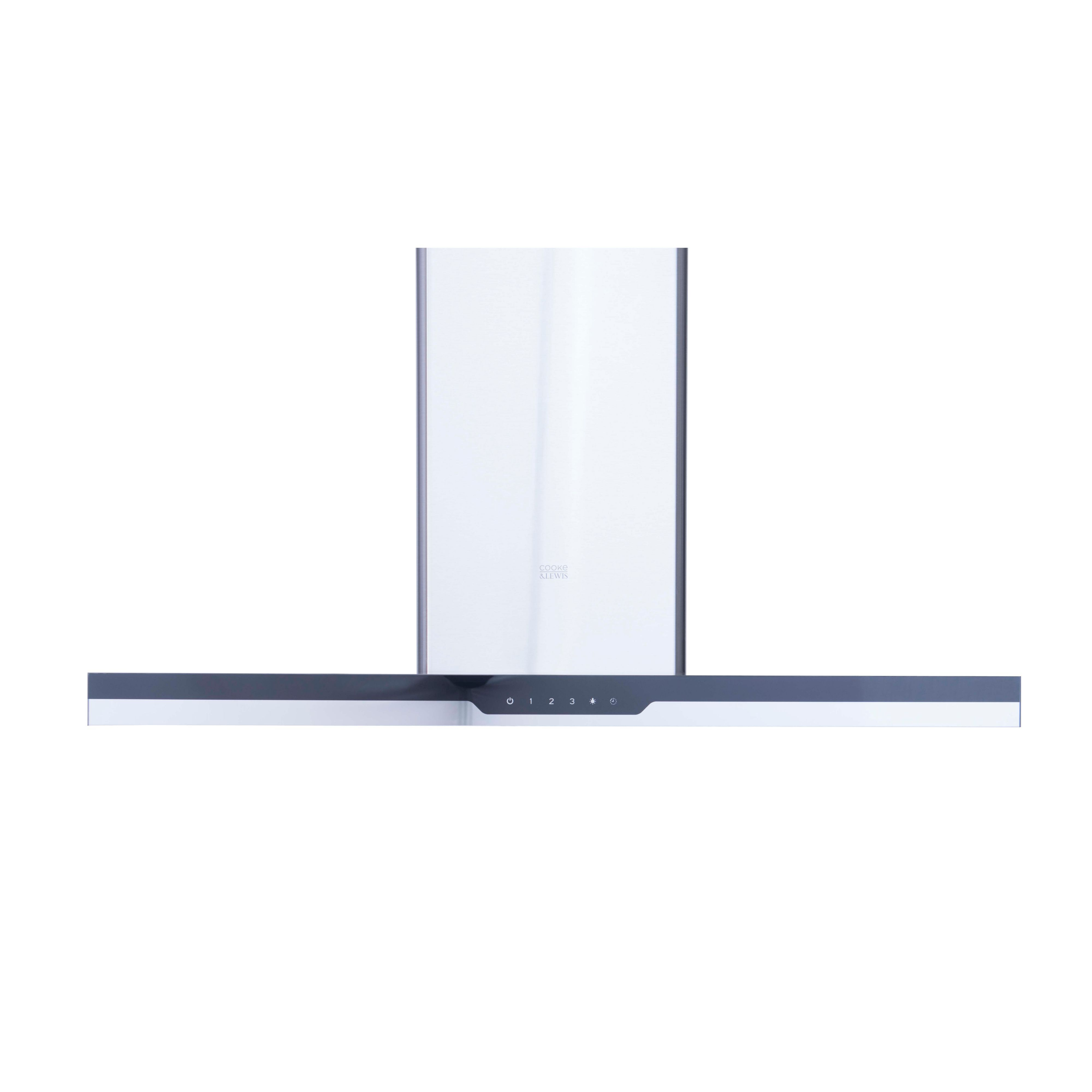 Cooke & Lewis Clibhs90 Steel & Glass Island Cooker Hood, (w) 900mm