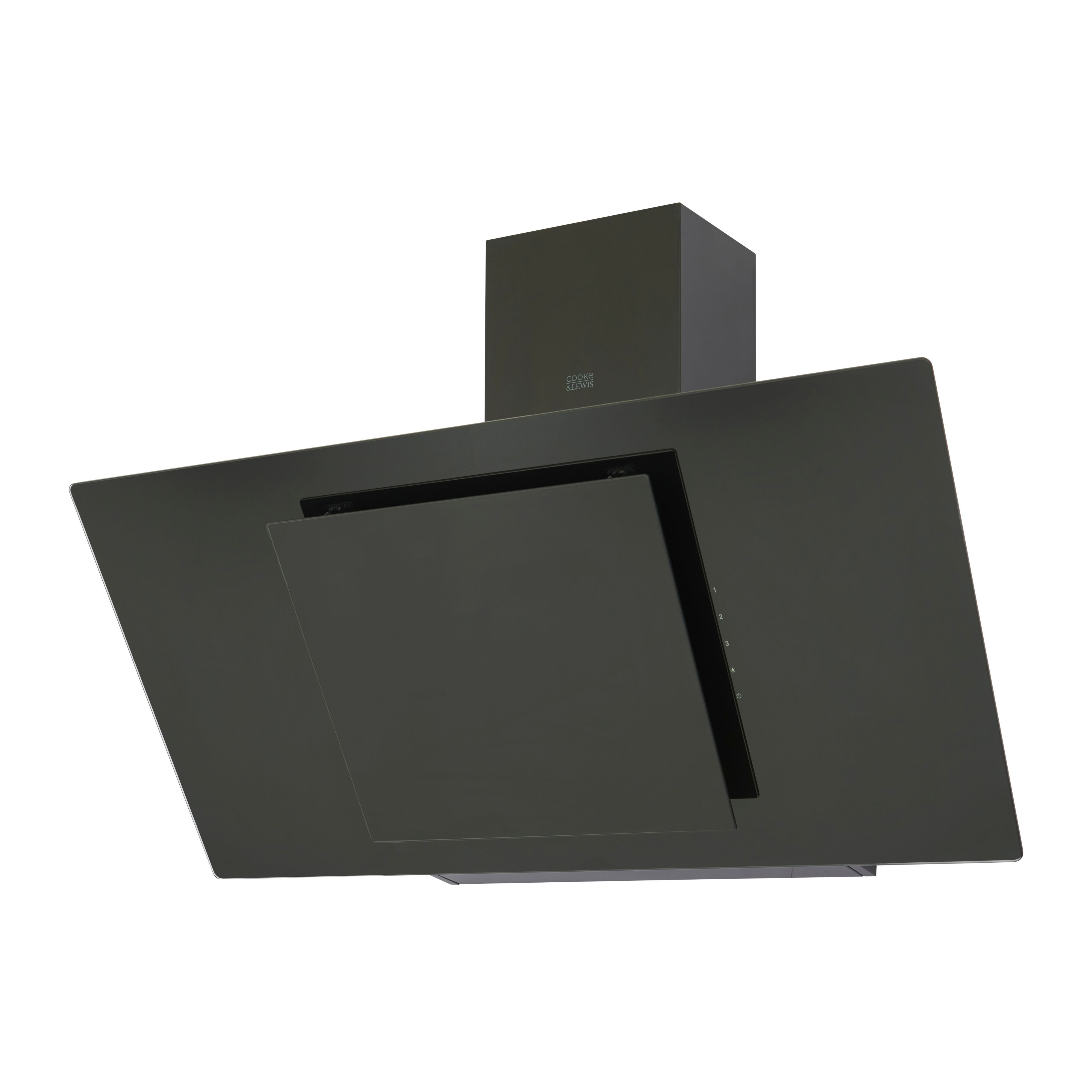 Cooke & Lewis Clagb90 Black Glass Angled Cooker Hood, (w) 900mm