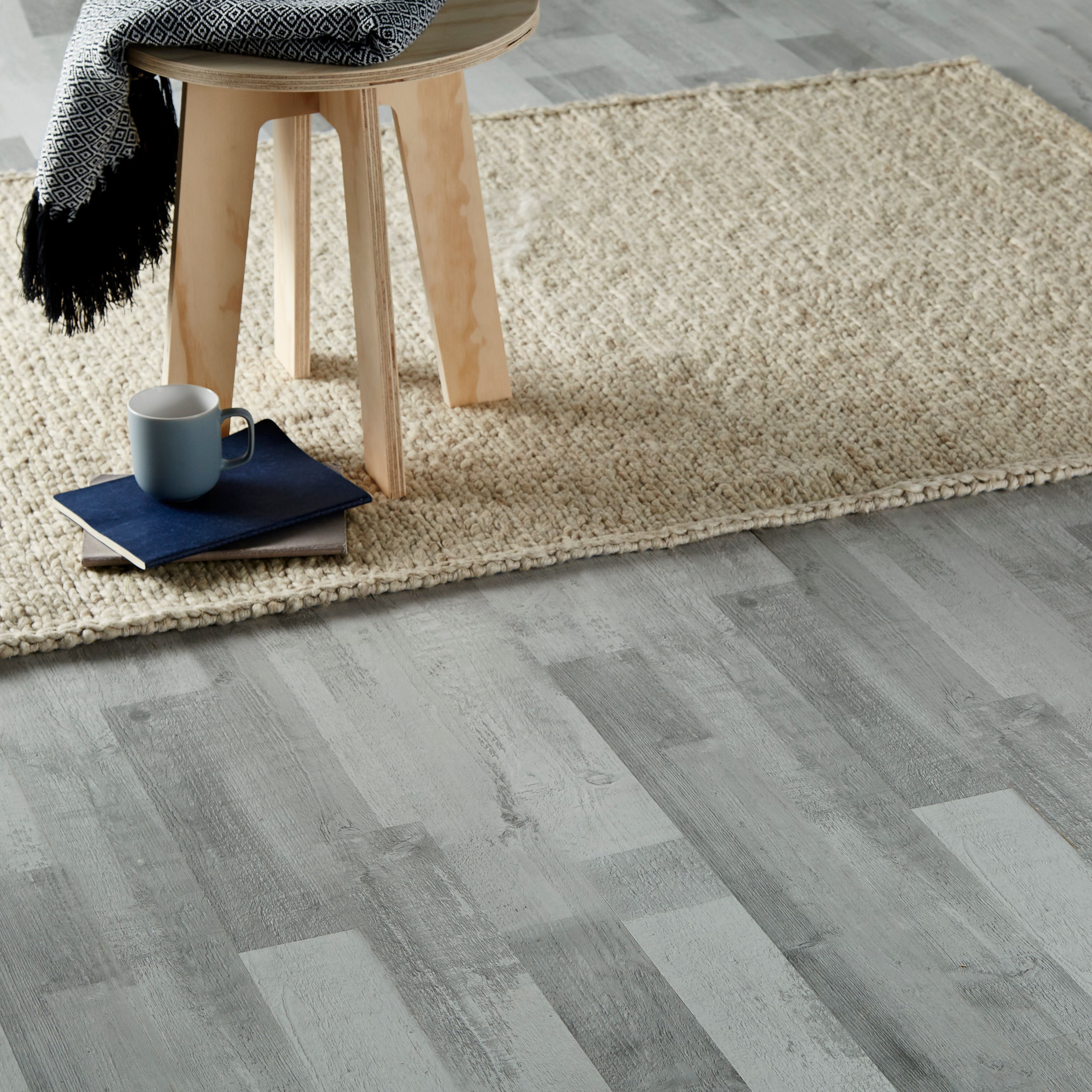 Rockhampton Grey Oak effect Laminate flooring Sample | Departments | DIY at B&Q