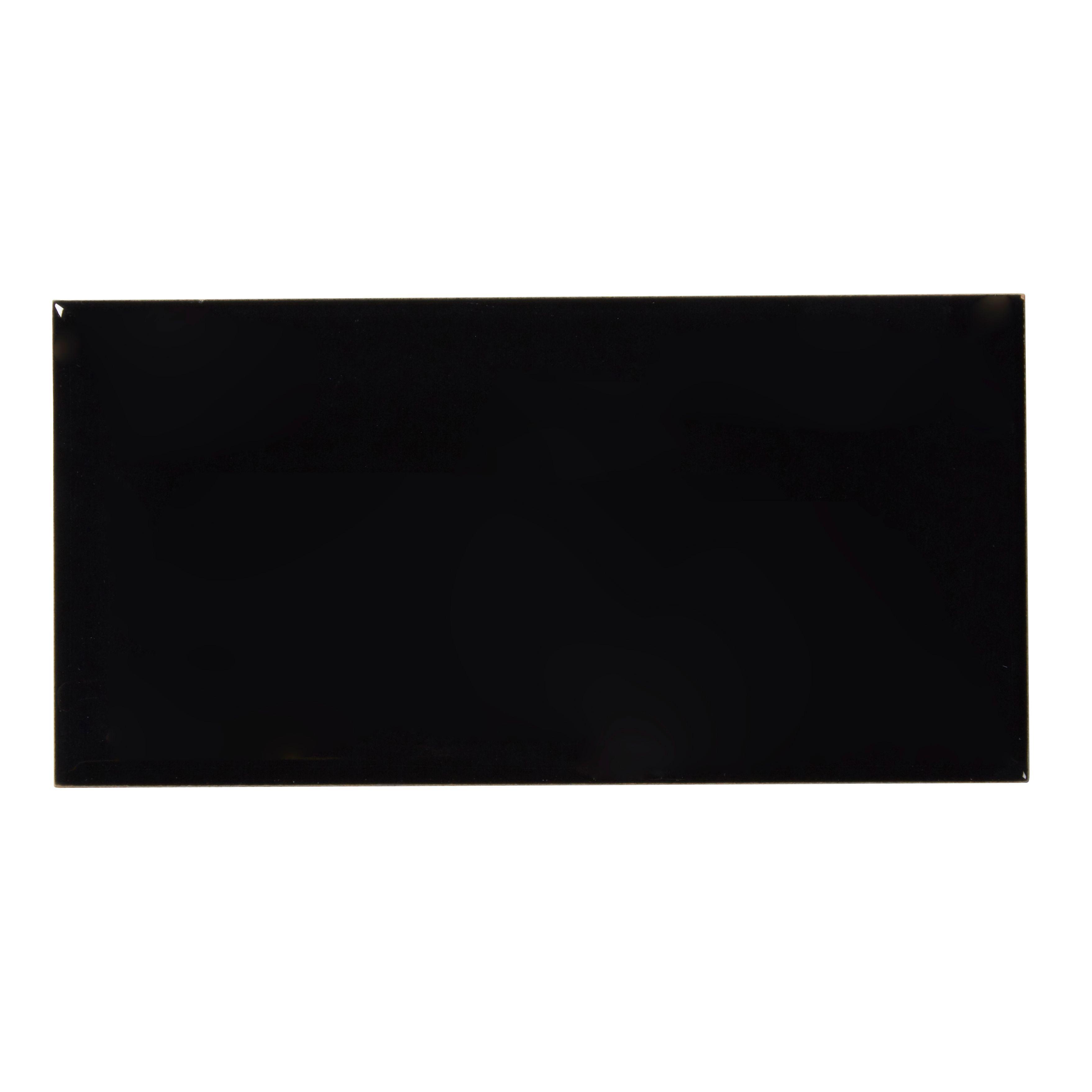 Trentie Black Gloss Ceramic Wall Tile Pack Of 40 L