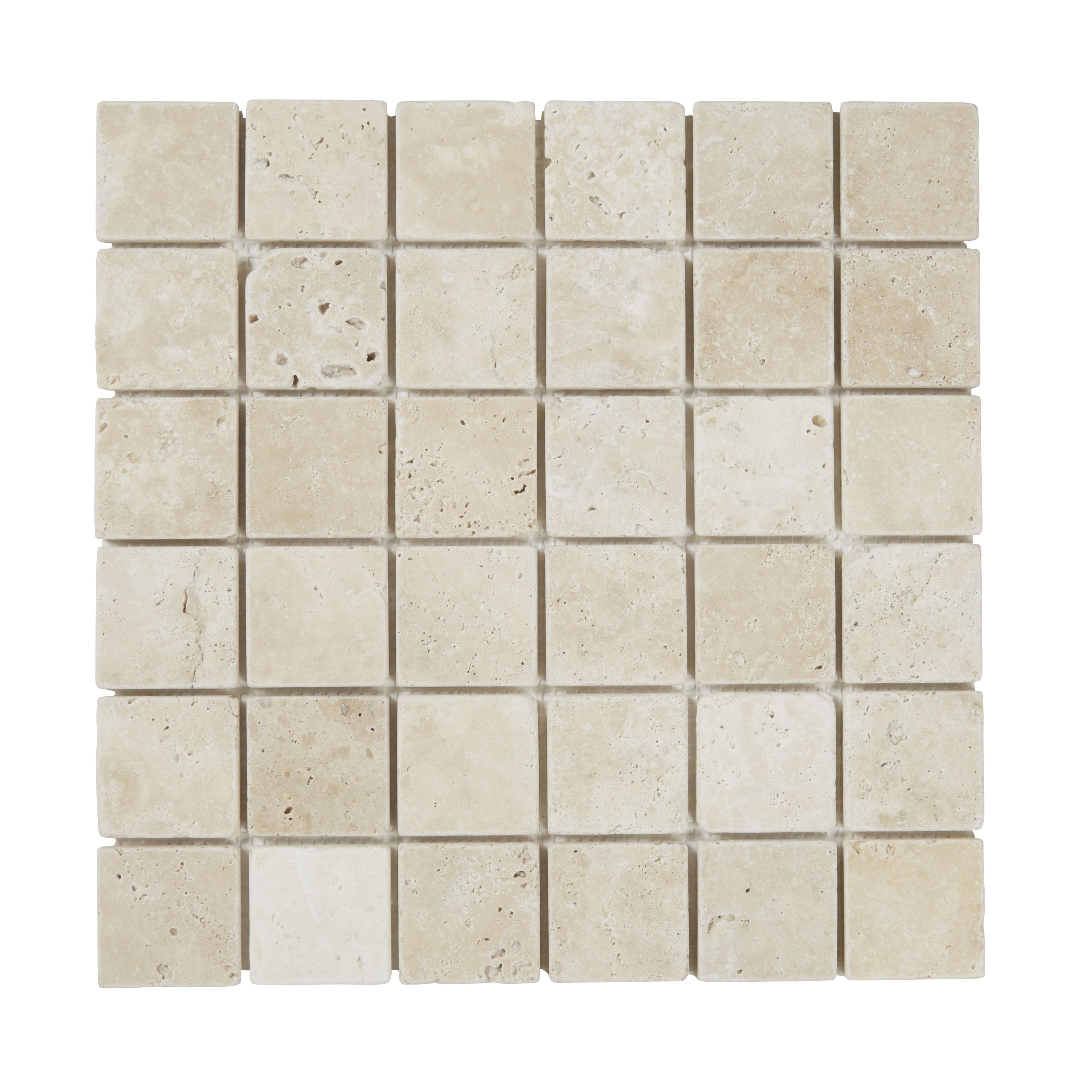 Verono Beige Travertine Mosaic Tile, (l)300mm (w)300mm