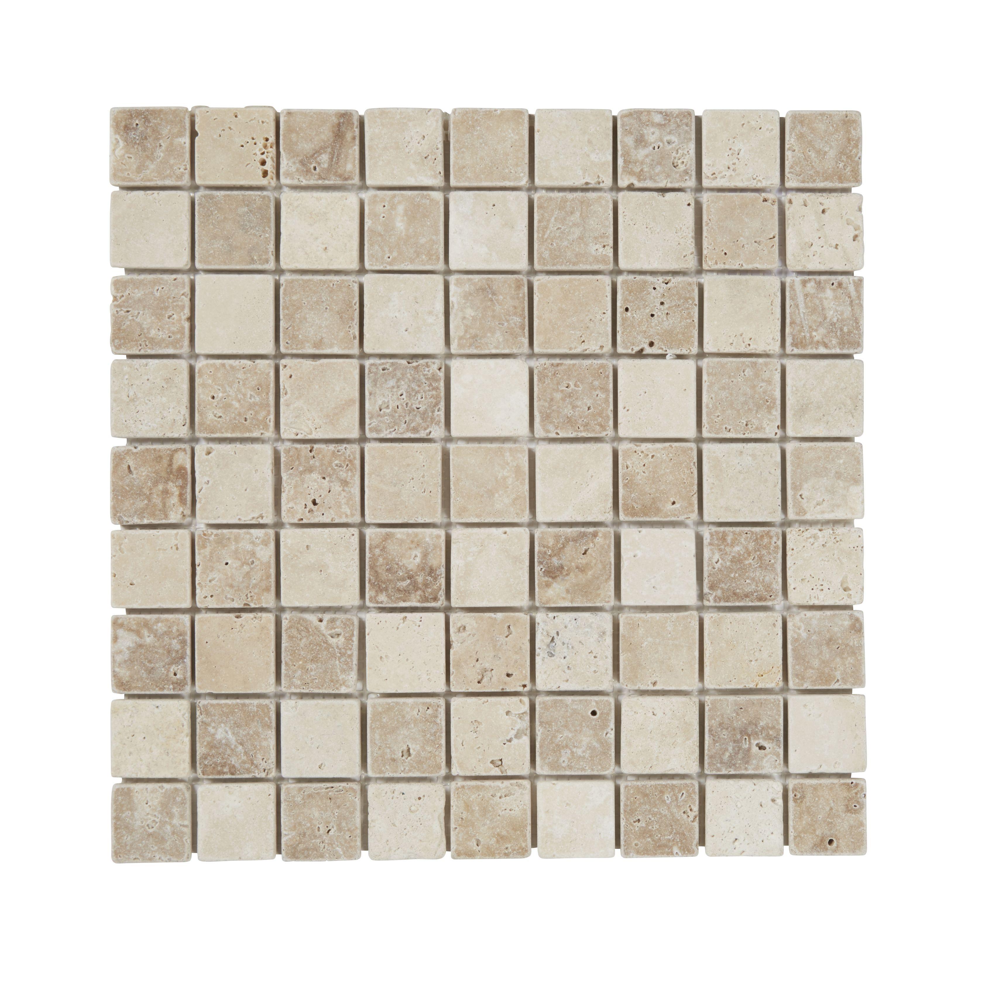 Padoue Beige Travertine Mosaic Tile, (l)300mm (w)300mm