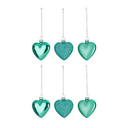 Assorted Mint Green Heart Decorations, Pack of 6
