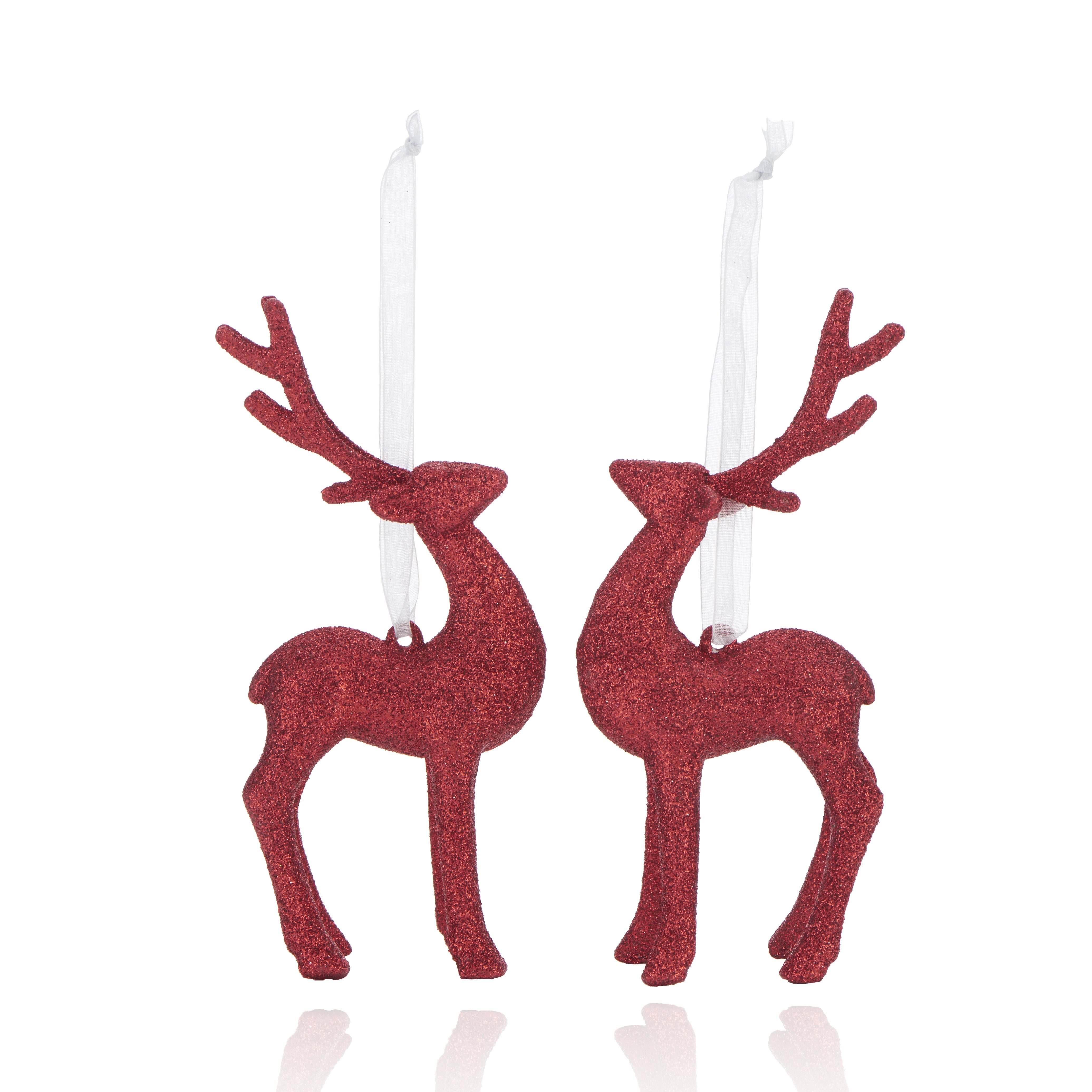 Glitter Red 3d Reindeer Decorations, Pack Of 2