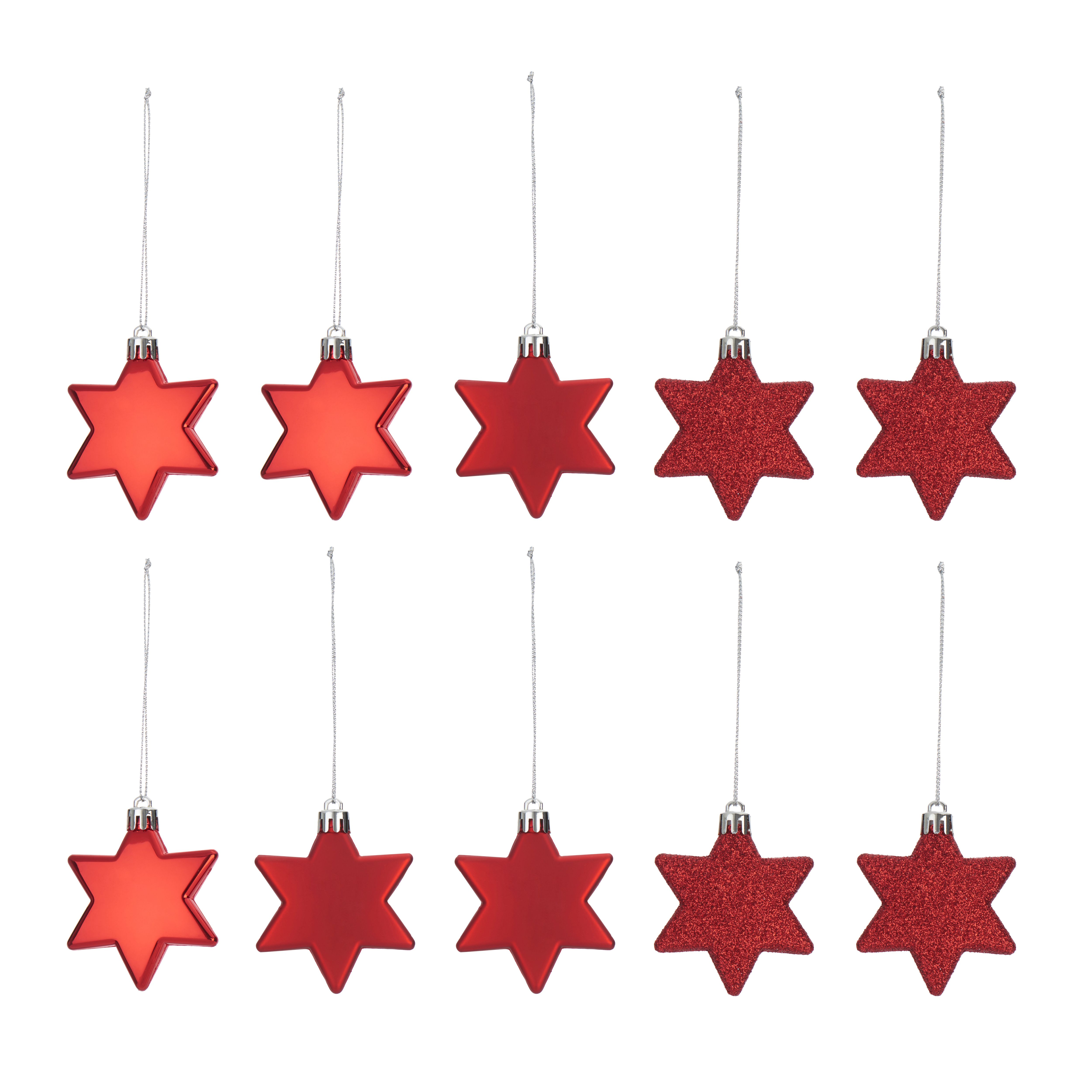 Assorted Red Star Decorations, Pack Of 10