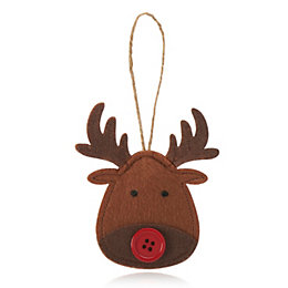 Felt Brown Reindeer Face Decoration