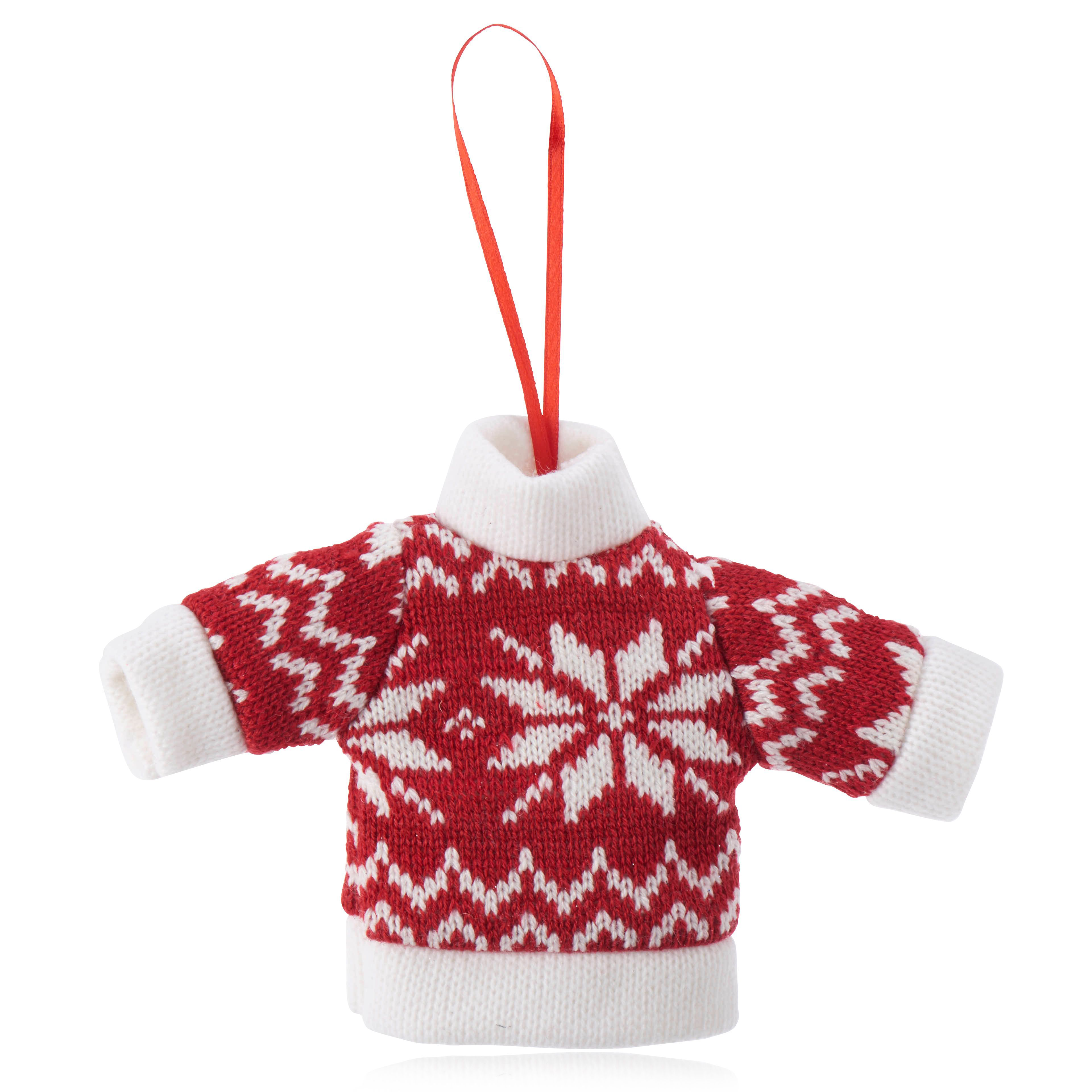 Knitted Red Skandi Style Jumper Decoration
